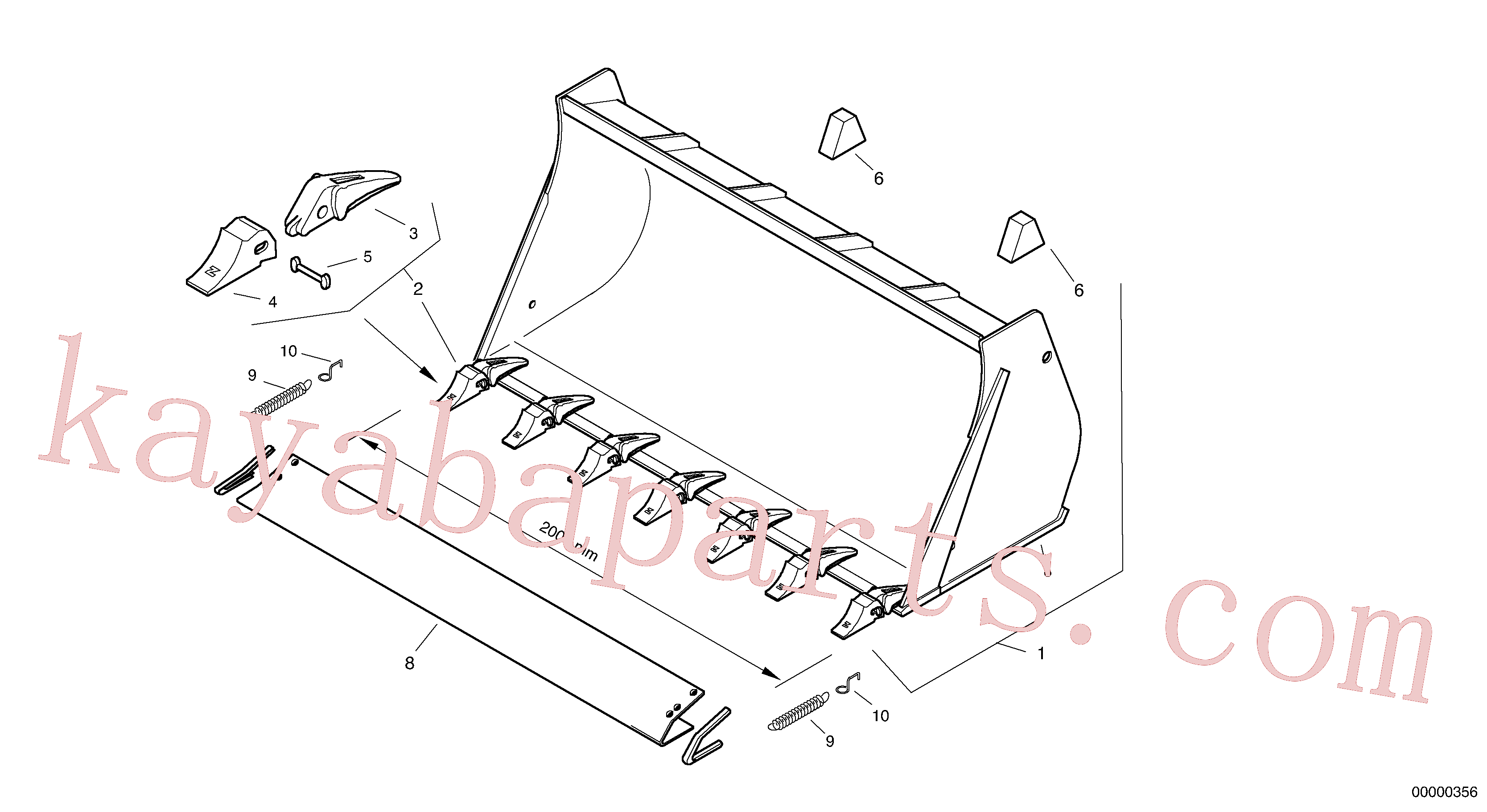 ZM2809807 for Volvo Bucket with teeth - Tpv(00000356 assembly)