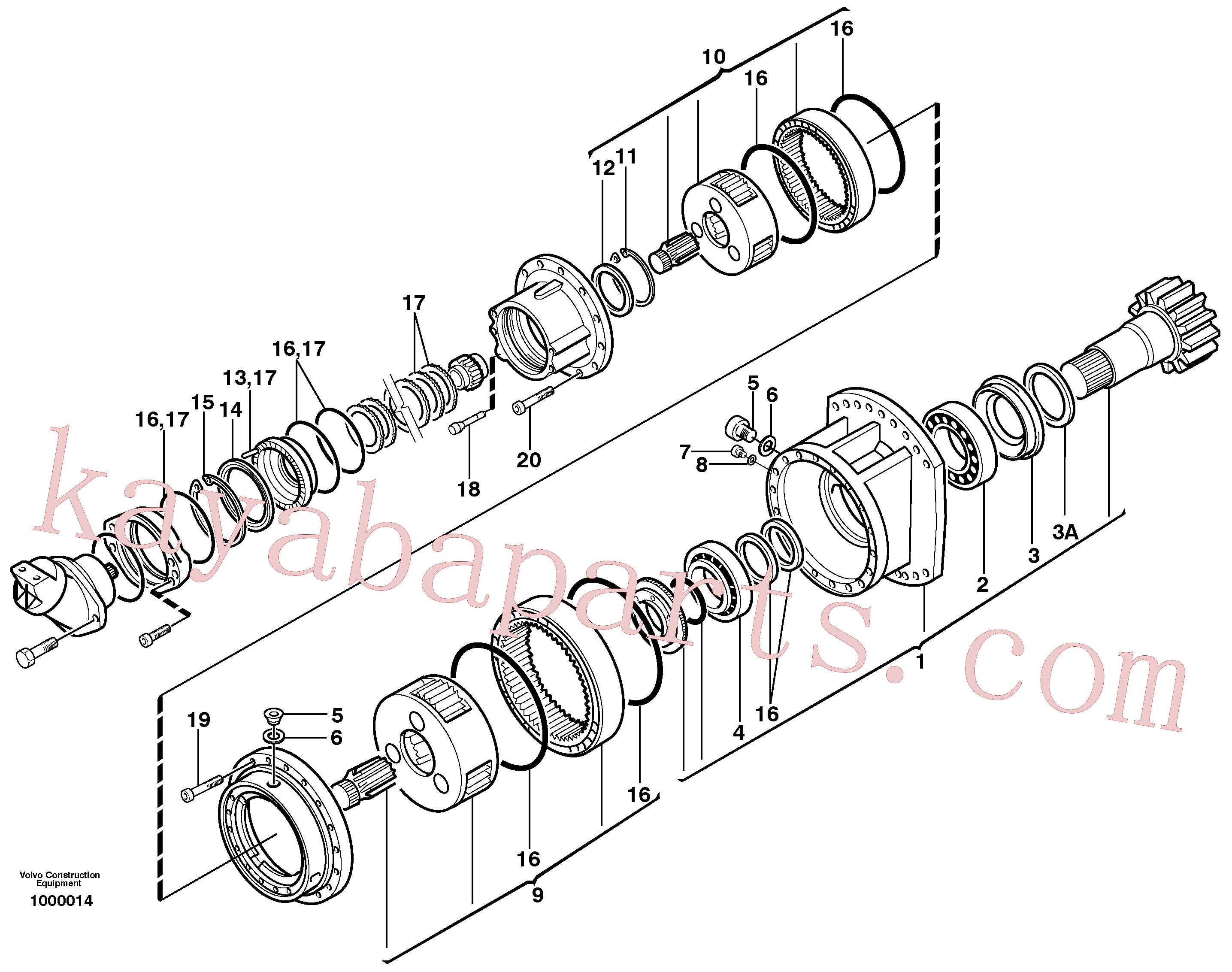 VOE11707953 for Volvo Swing gearbox(1000014 assembly)