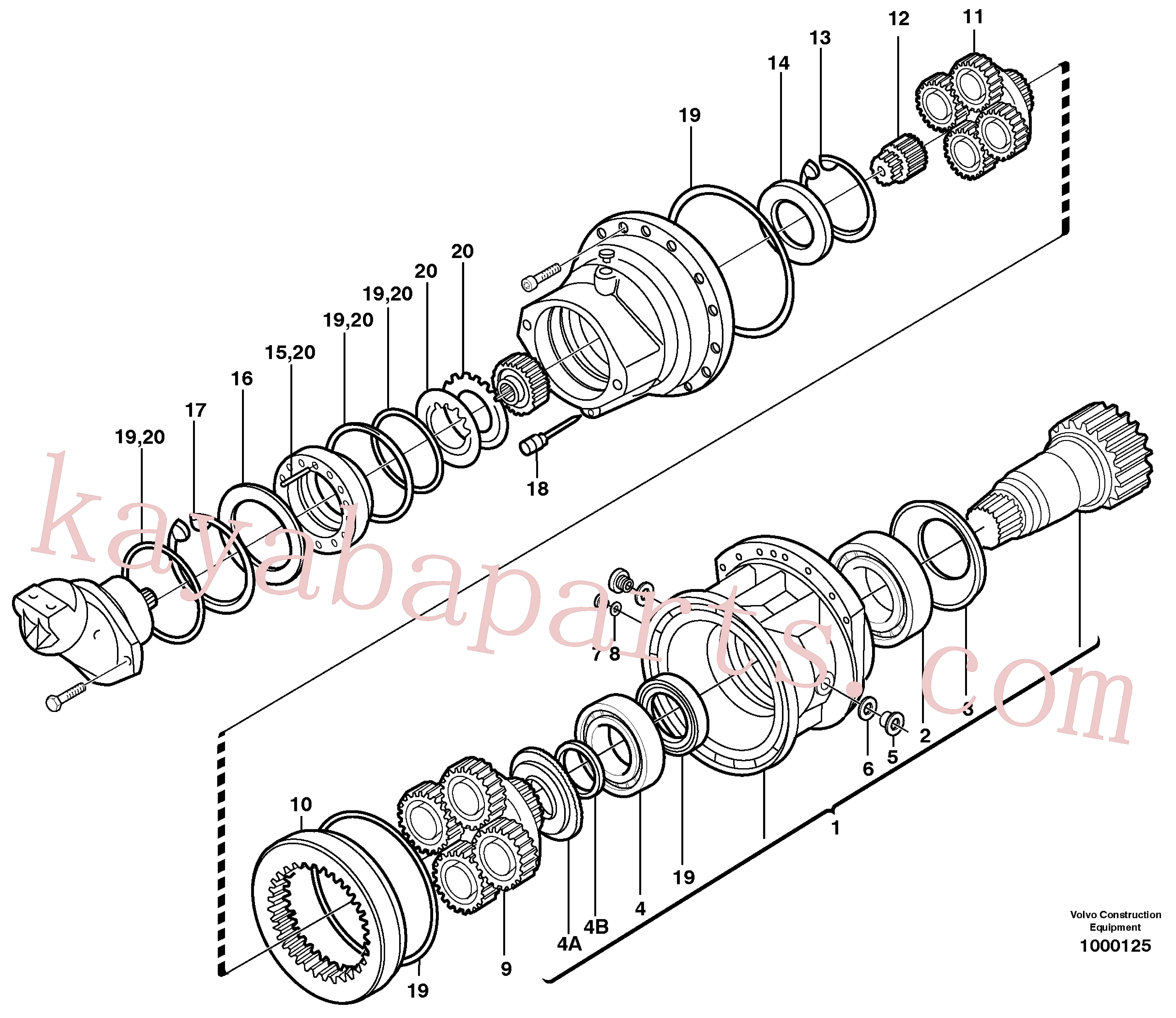 VOE11703756 for Volvo Swing gearbox(1000125 assembly)
