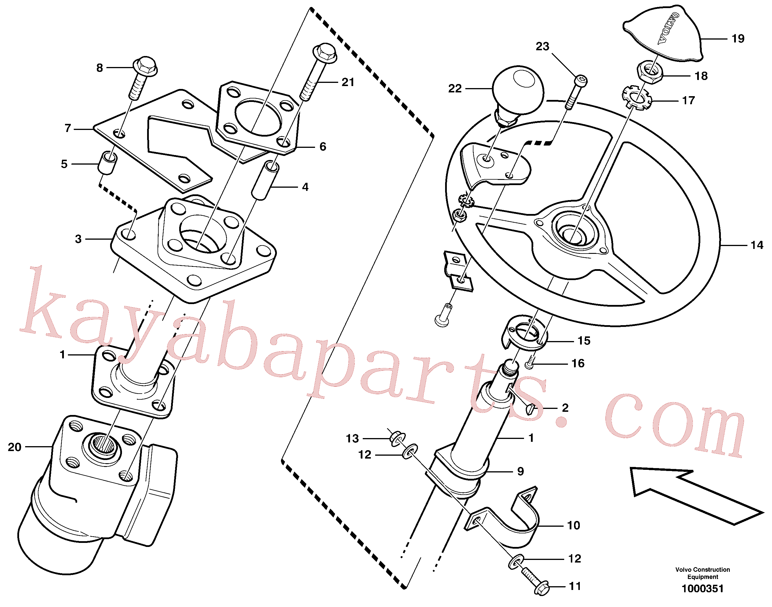 VOE13970950 for Volvo Steering column with fitting parts(1000351 assembly)