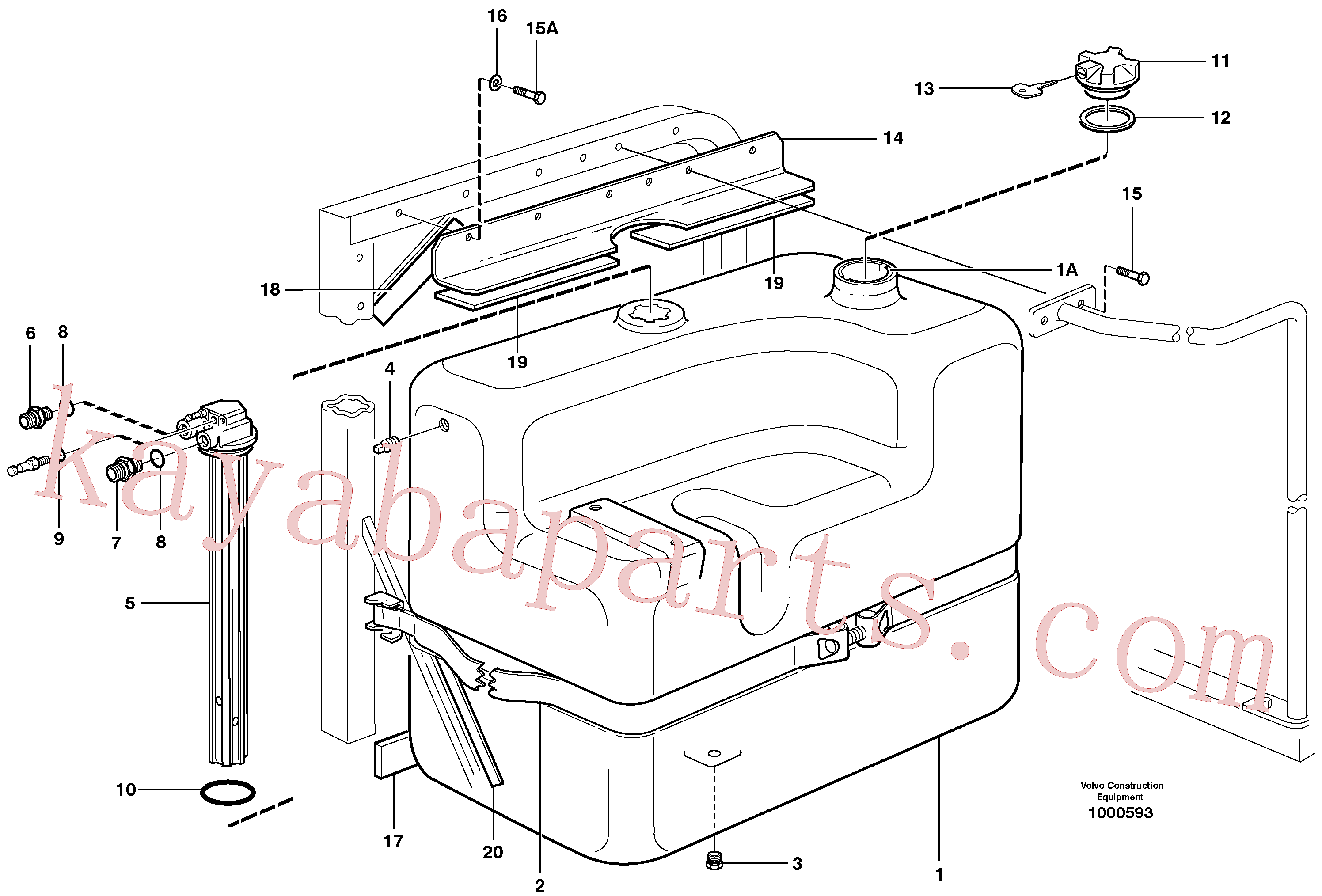 VOE14371019 for Volvo Fuel tank with fitting parts(1000593 assembly)
