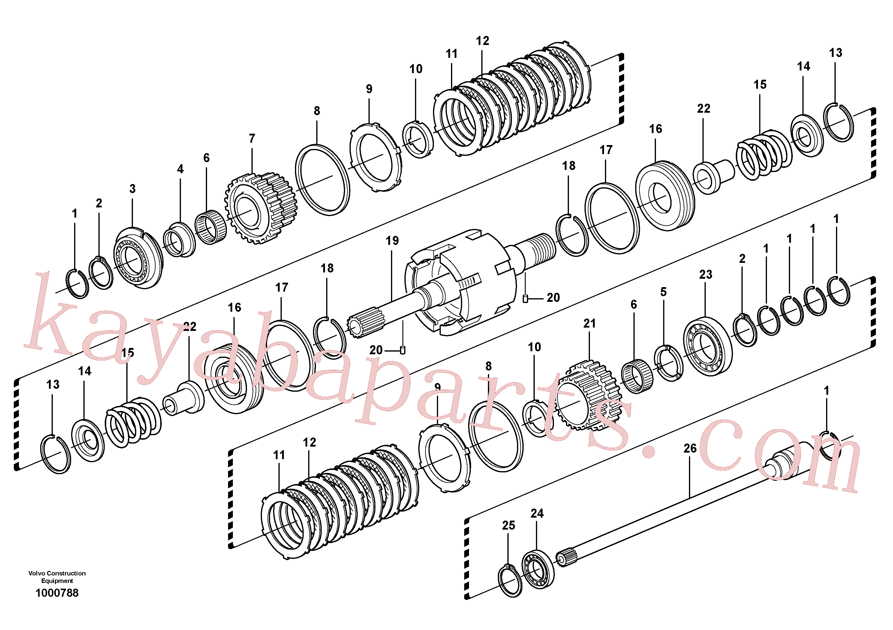 VOE11709093 for Volvo Clutch shaft forward/reverse(1000788 assembly)