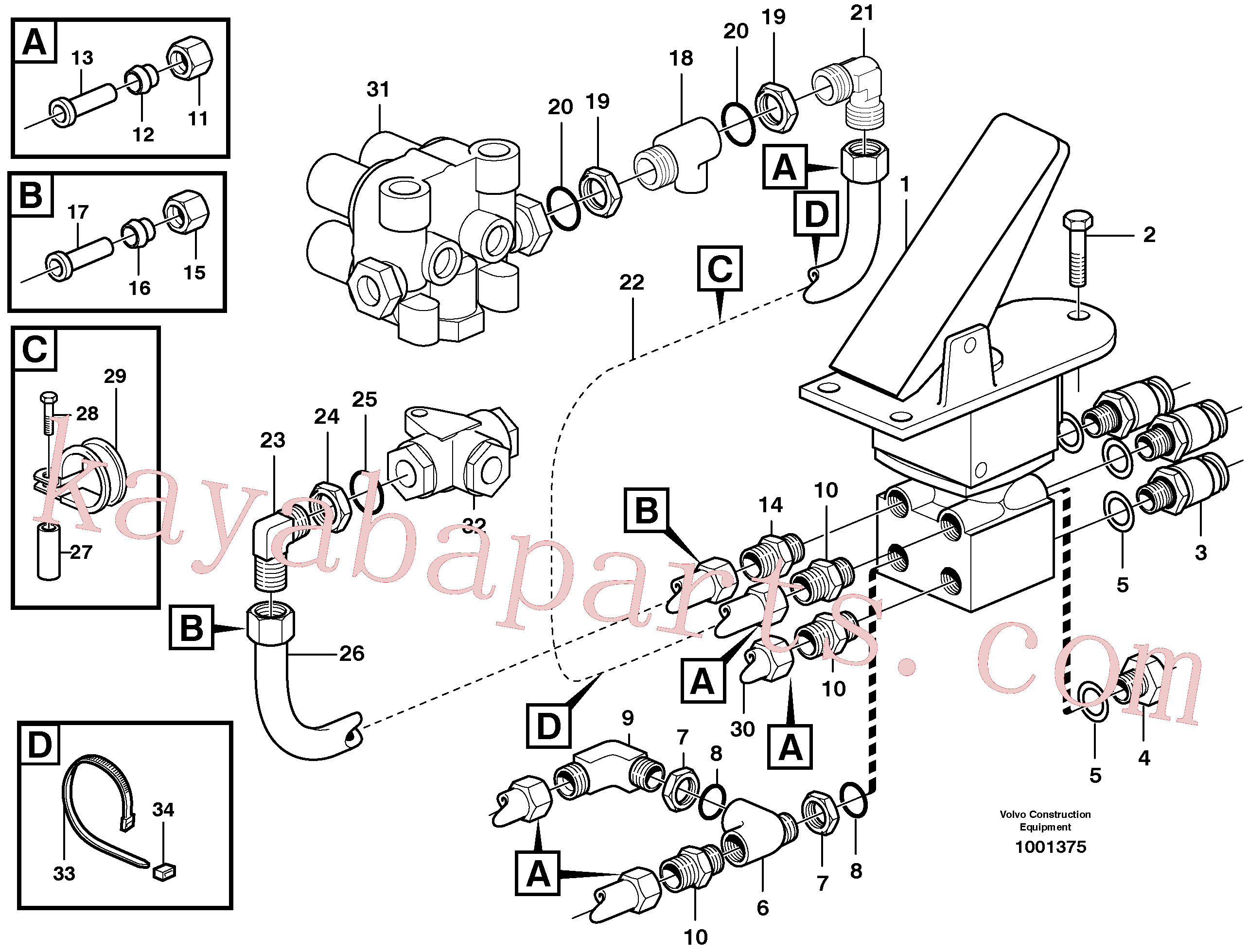 VOE13945958 for Volvo Footbrake valve with mountings(1001375 assembly)