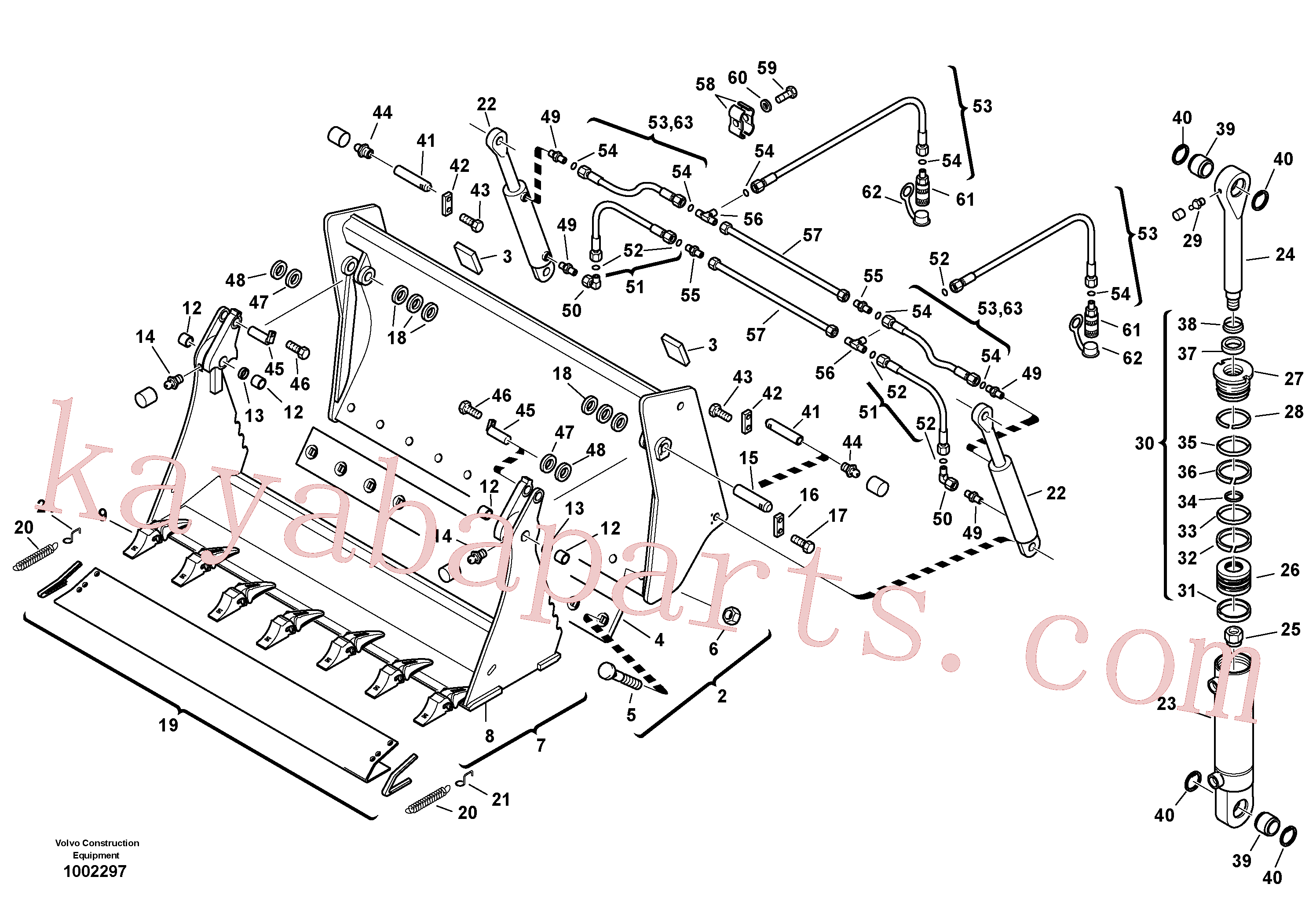 VOE11305090 for Volvo Shutter bucket with teeth(1002297 assembly)