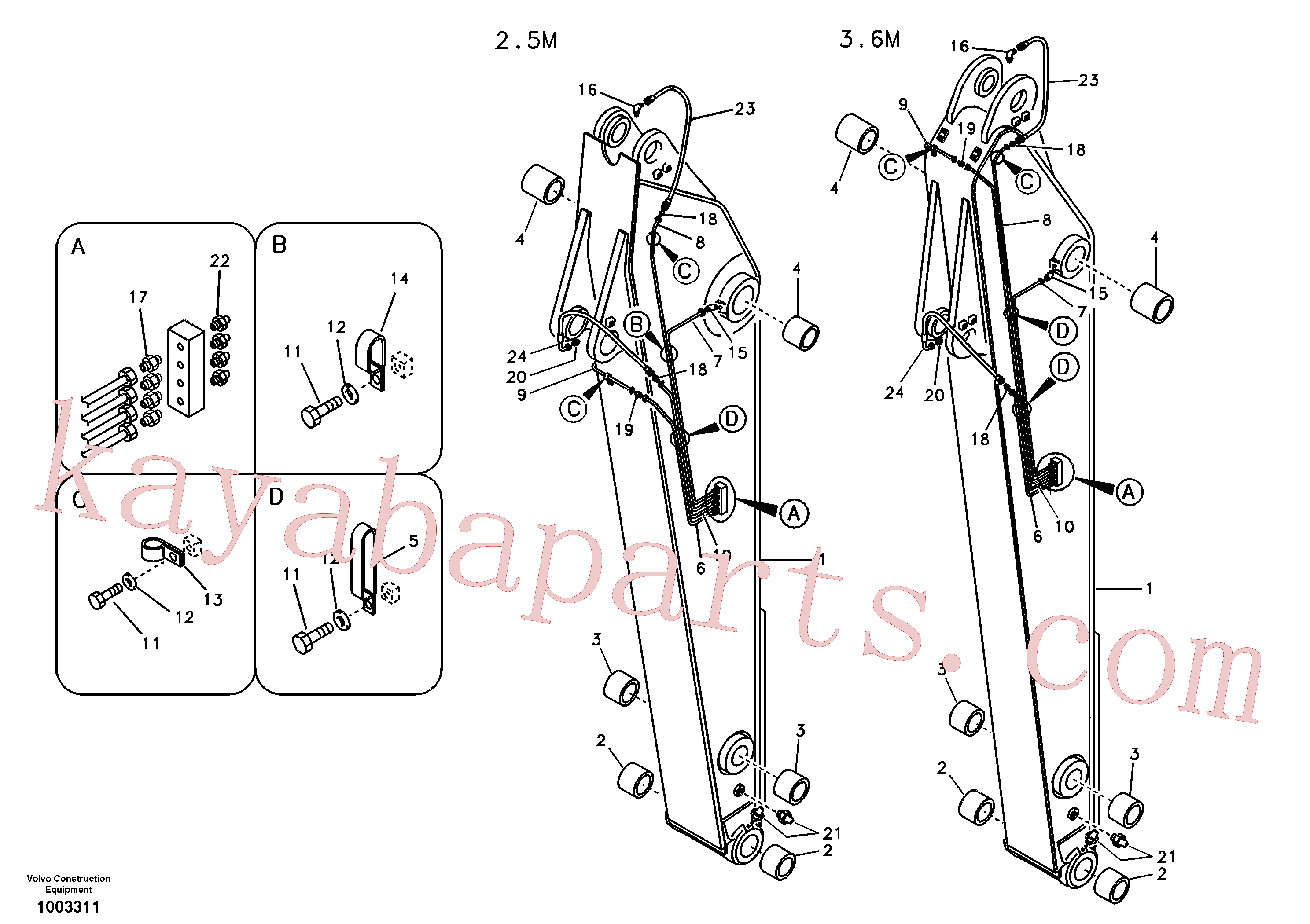 VOE14530051 for Volvo Dipper arm and grease piping with piping seat(1003311 assembly)
