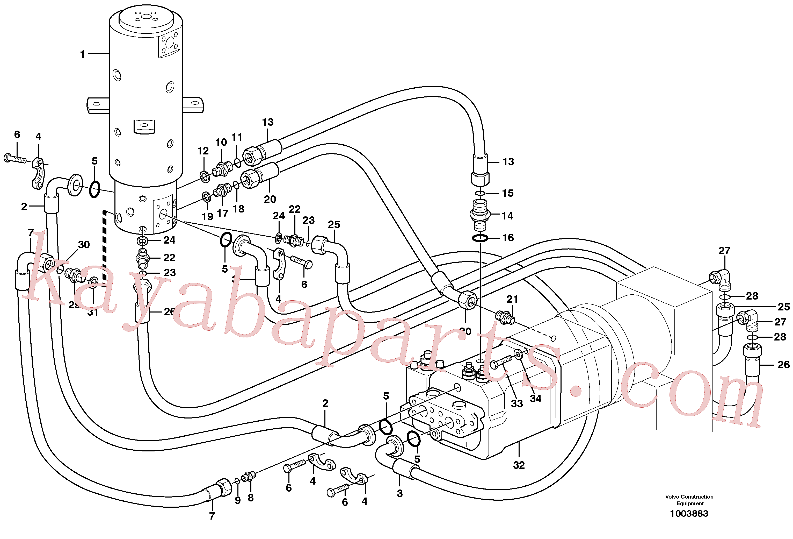 VOE11883022 for Volvo Hydraulic system, transport in undercarrige(1003883 assembly)
