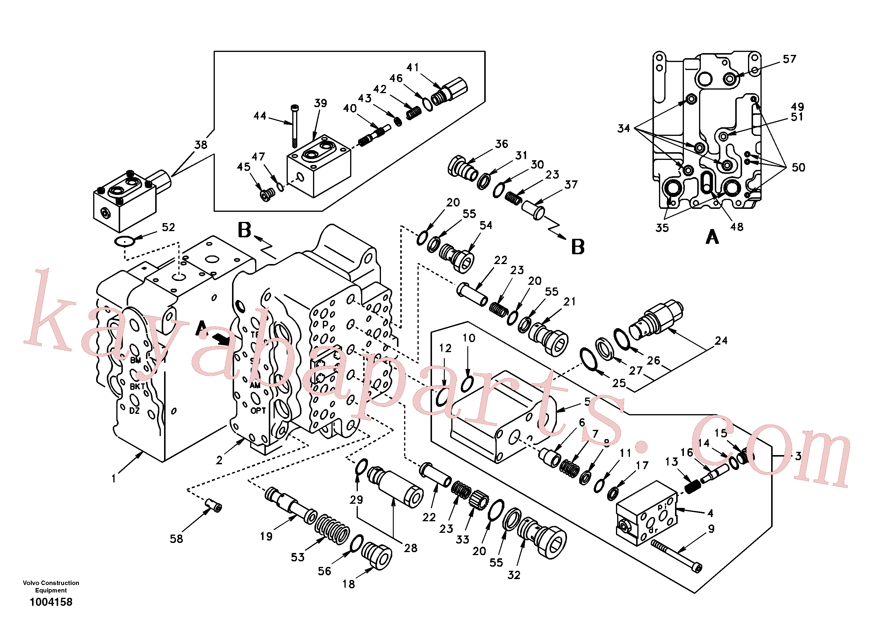 SA7272-03100 for Volvo Main control valve, travel Lh and mid inlet and travel Rh(1004158 assembly)