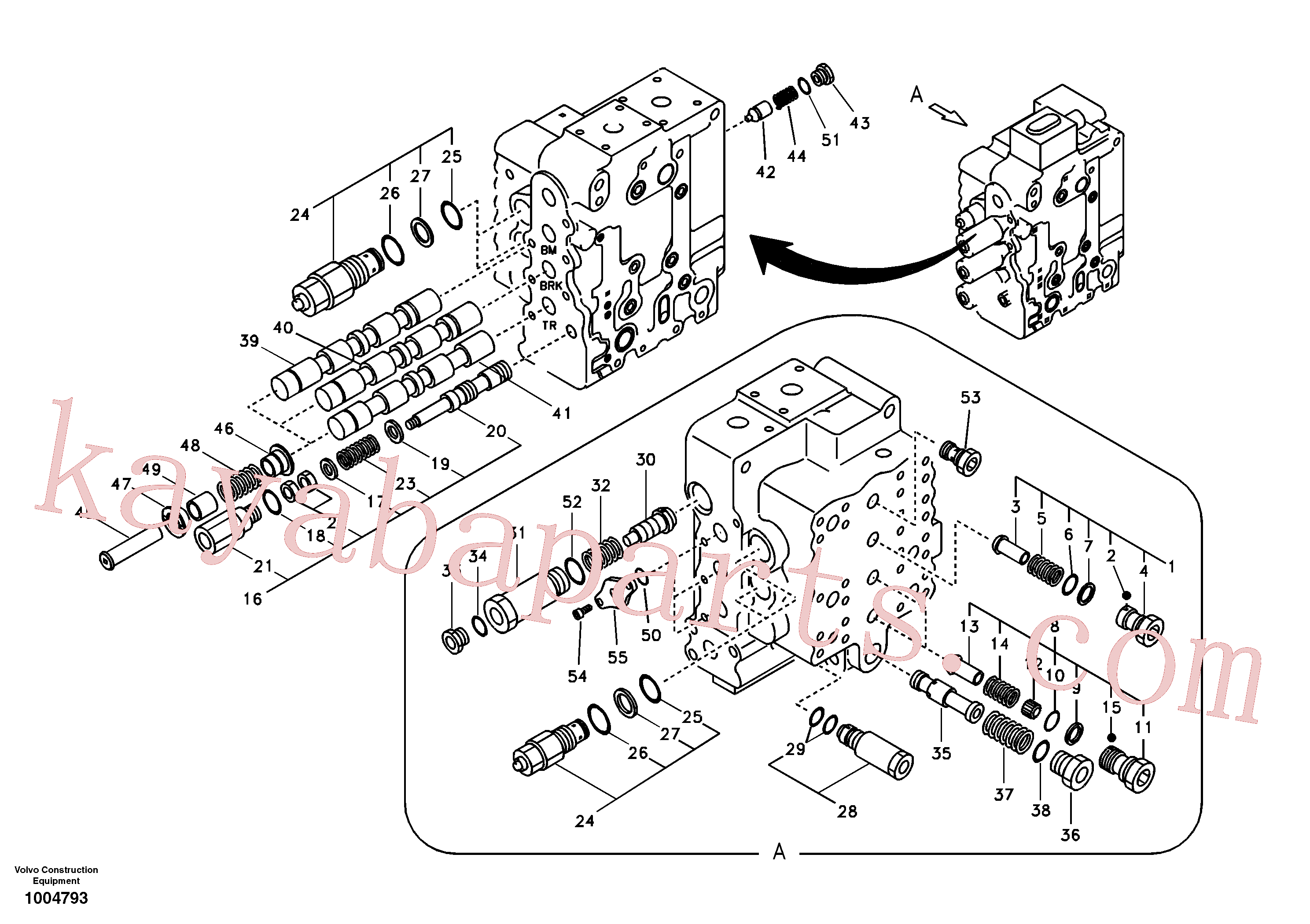 SA7272-03100 for Volvo Main control valve, boom and bucket and travel Rh(1004793 assembly)