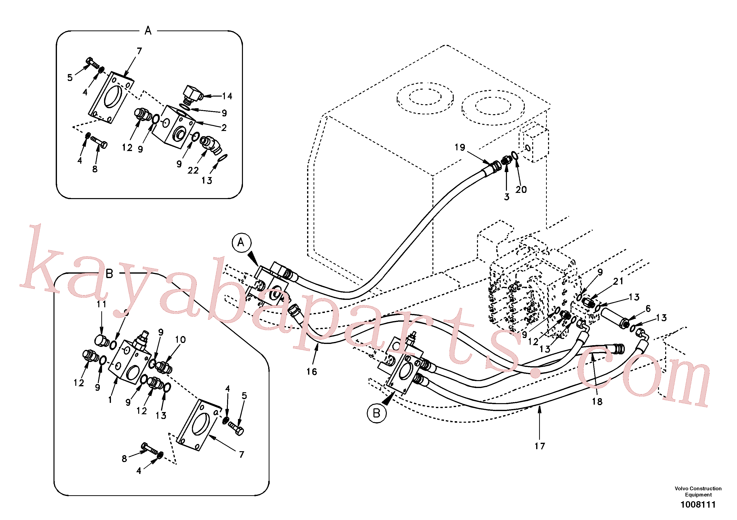 SA1174-55510 for Volvo Working hydraulic, hammer and shear for upper(1008111 assembly)