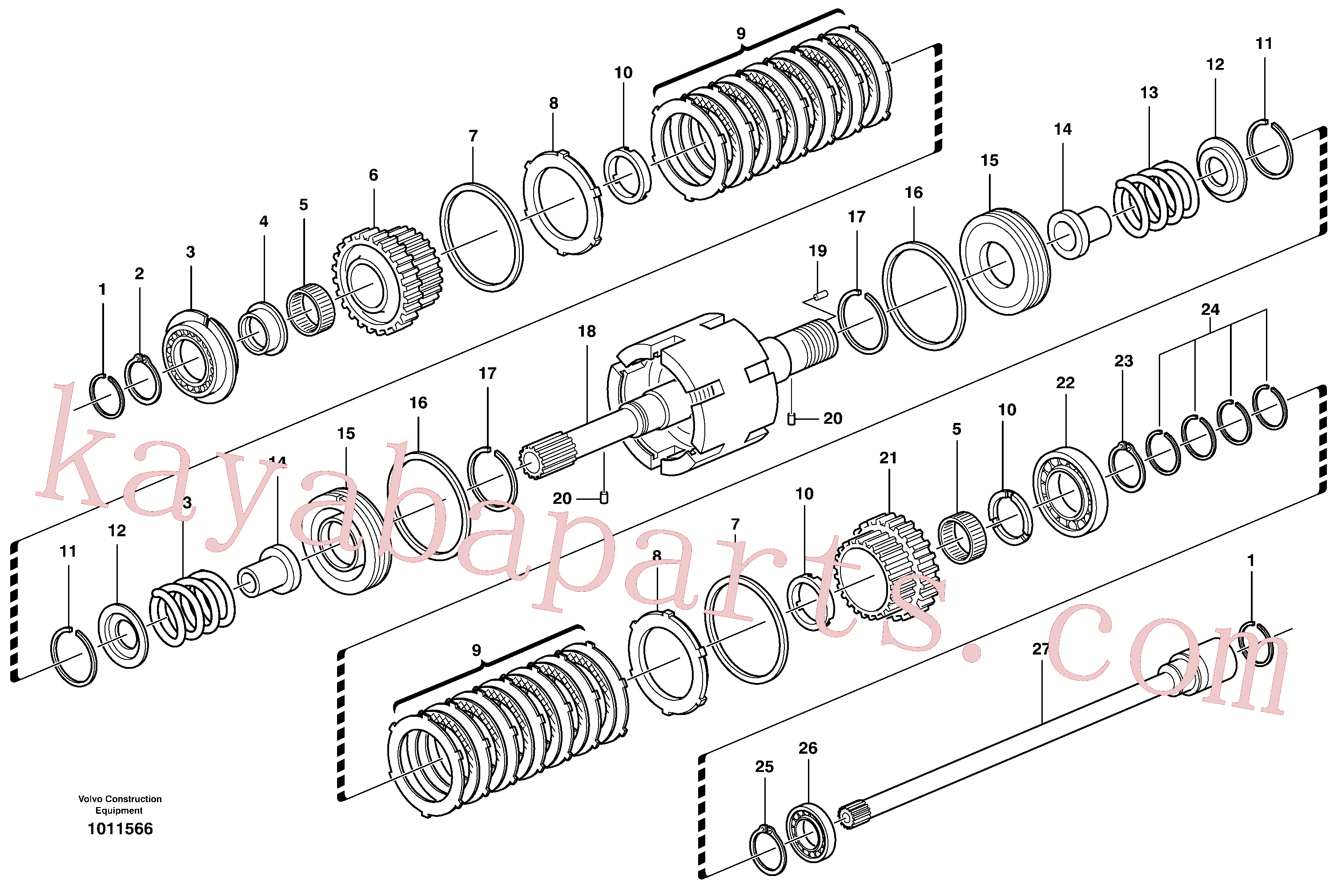 VOE11709093 for Volvo Clutch shaft forward/reverse(1011566 assembly)