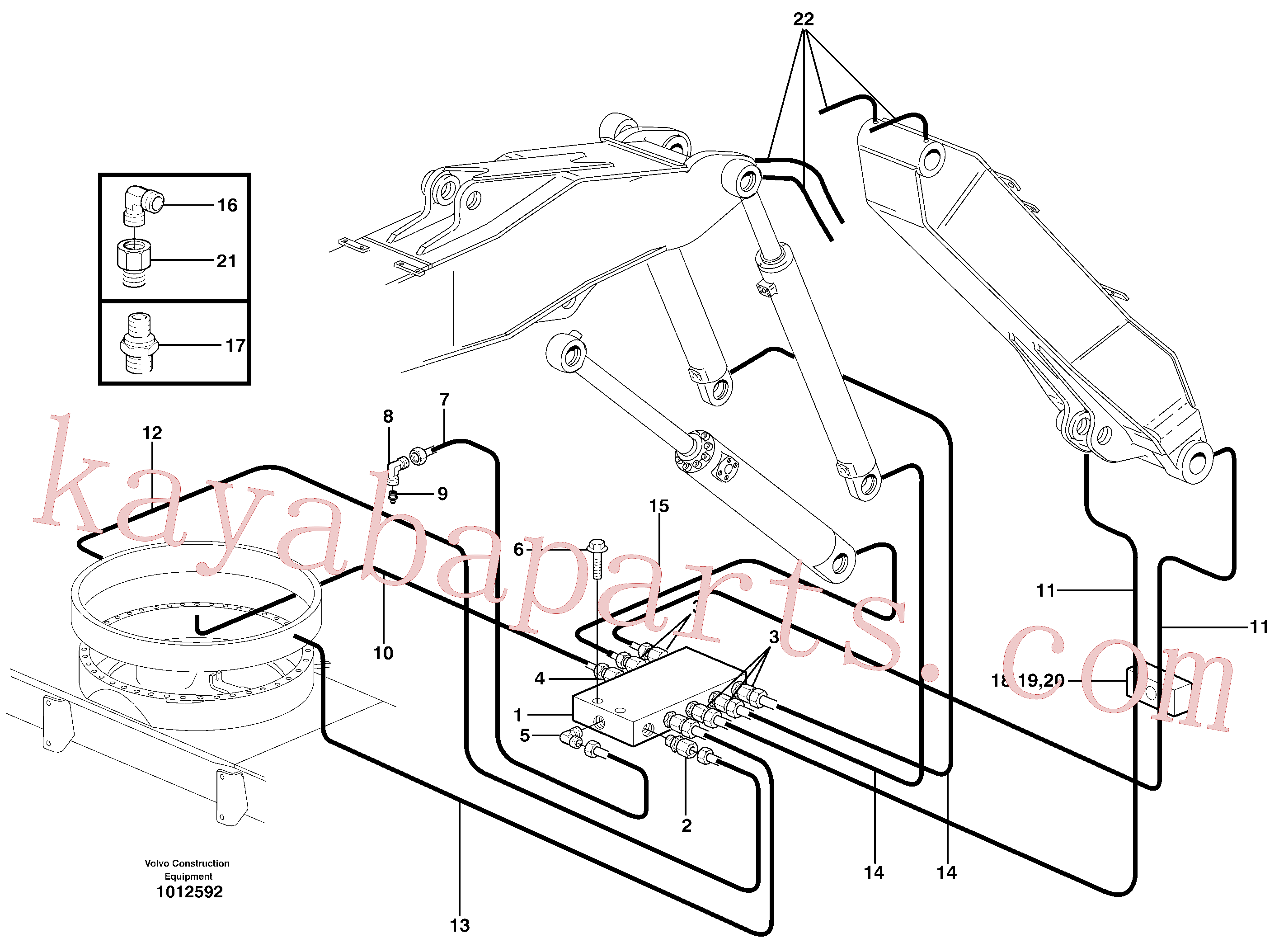 VOE11052546 for Volvo Central lubrication. slewing, adjustable boom(1012592 assembly)