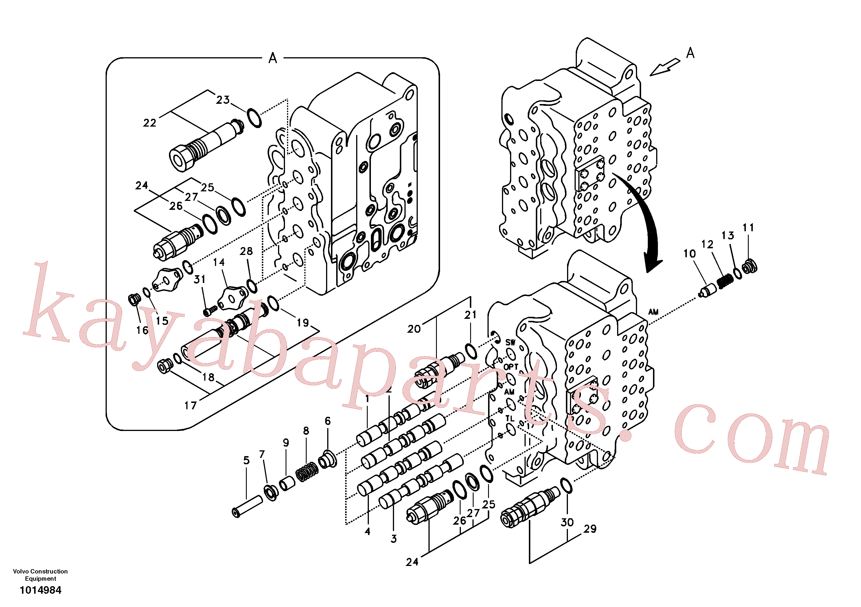 VOE14532821 for Volvo Main control valve, swing and option and dipper arm and travel Lh(1014984 assembly)