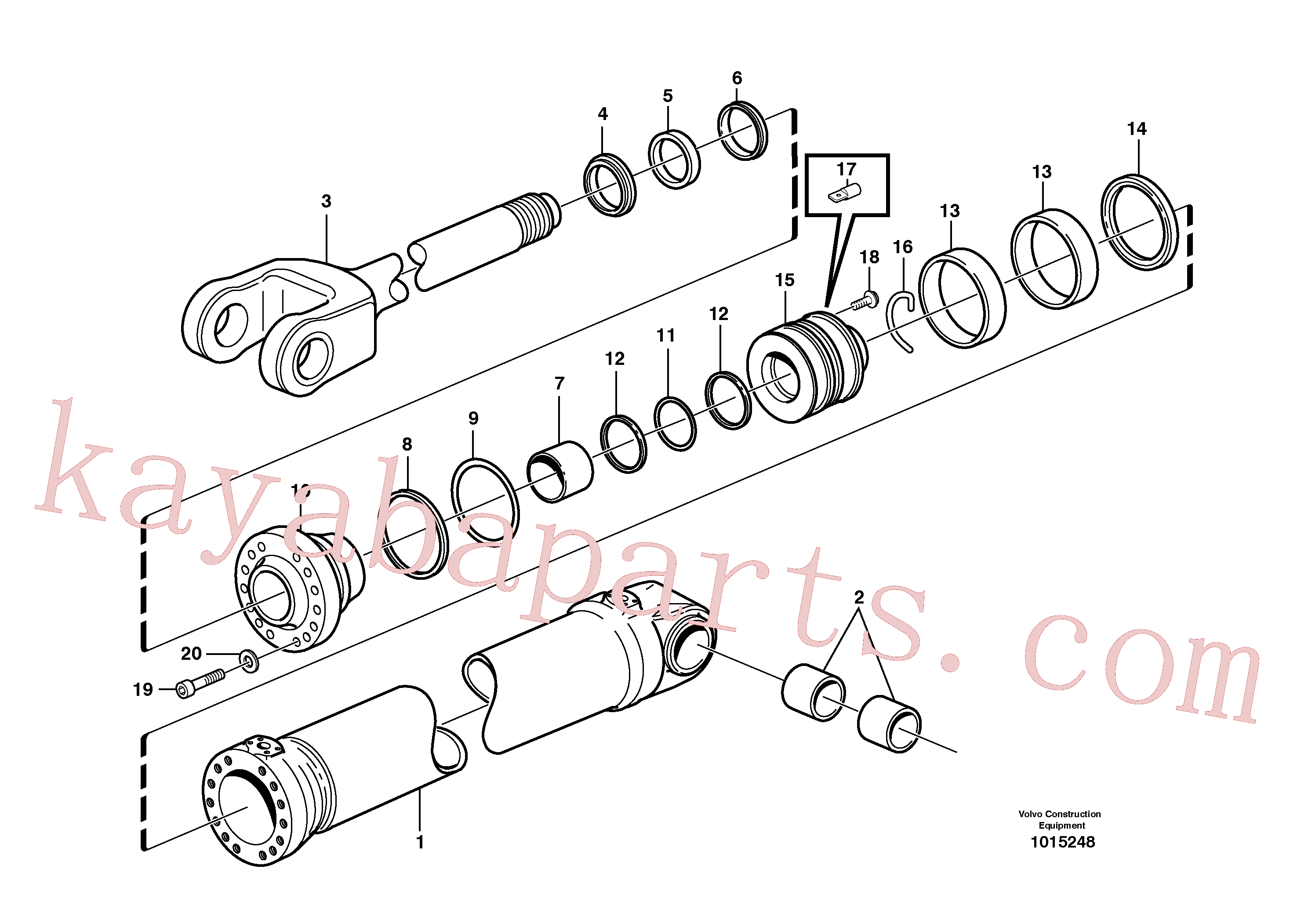 VOE11107376 for Volvo Hydraulic cylinder, lifting(1015248 assembly)