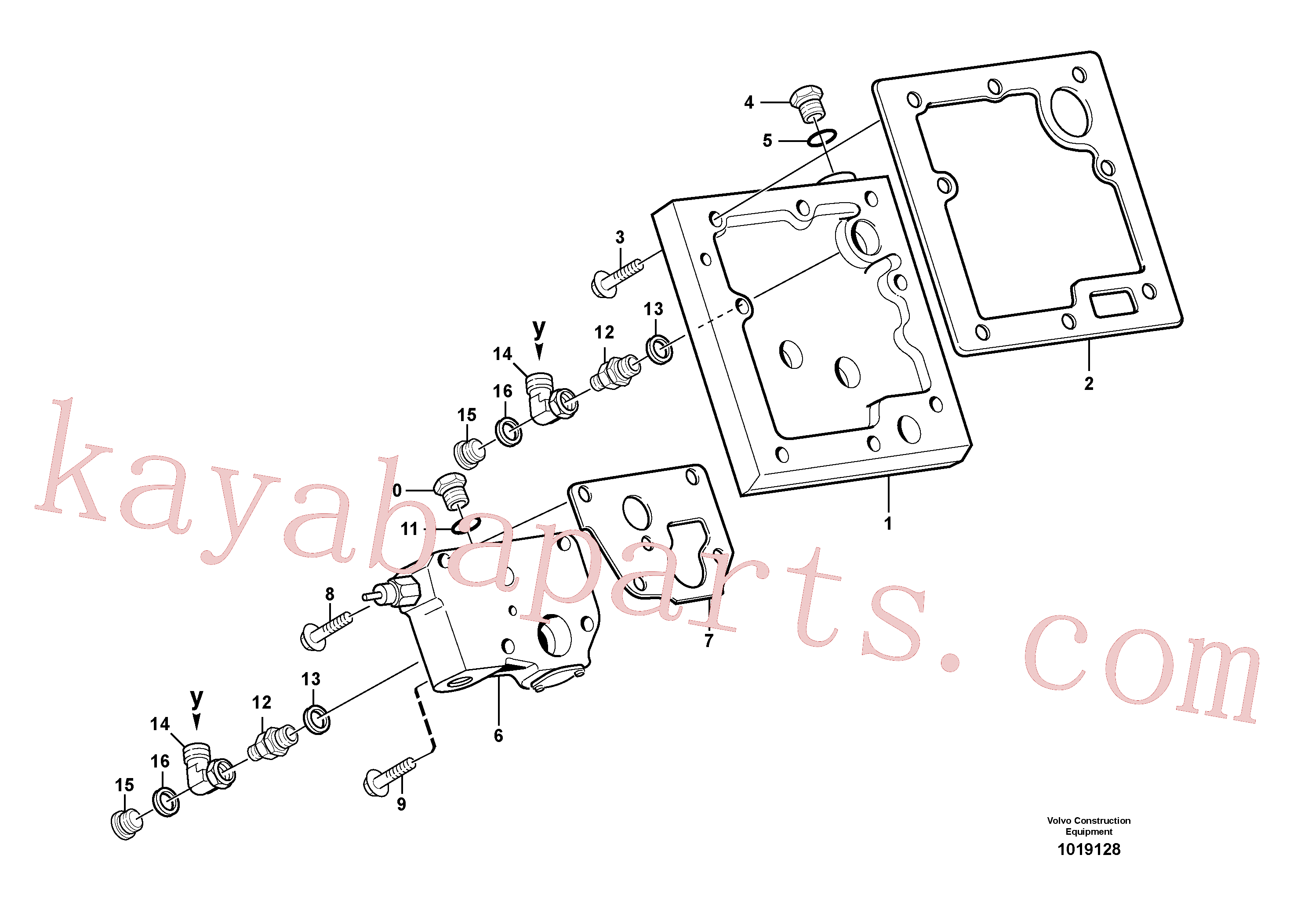 VOE13965181 for Volvo Lubricating oil valve with fitting parts(1019128 assembly)