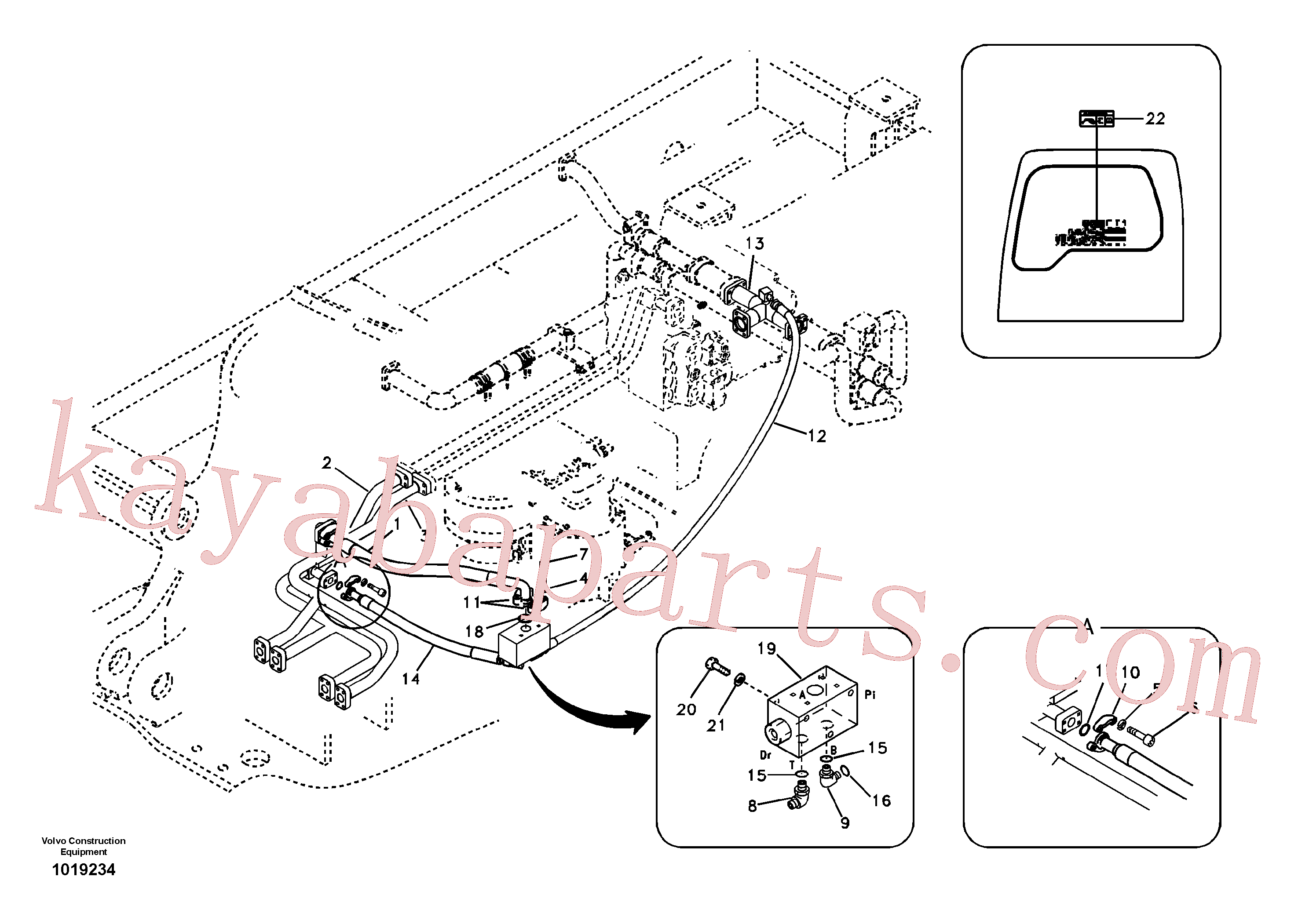 VOE14522384 for Volvo Hydraulic system, control valve to boom and swing(1019234 assembly)