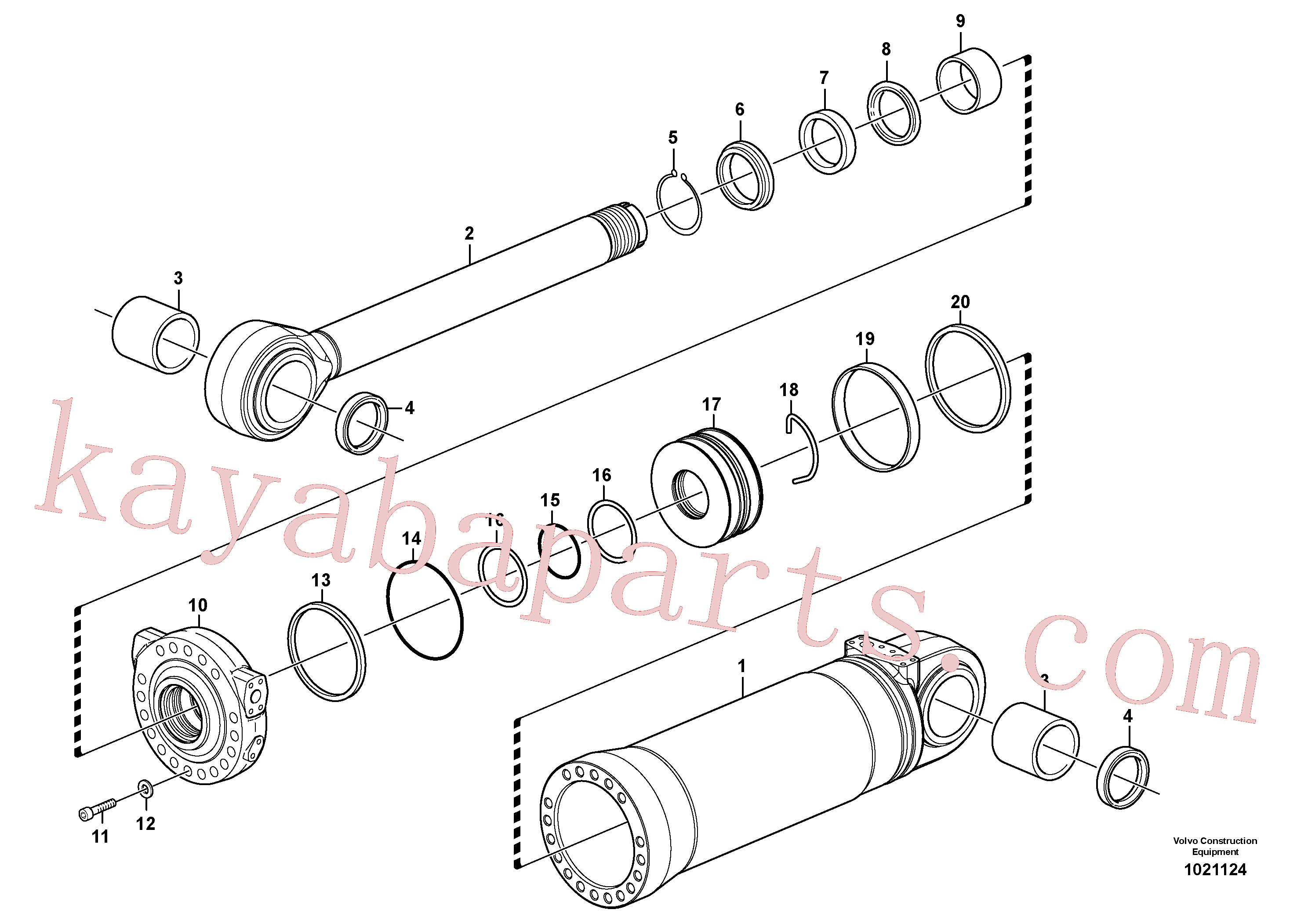 VOE11107376 for Volvo Hydraulic cylinder, tilting(1021124 assembly)