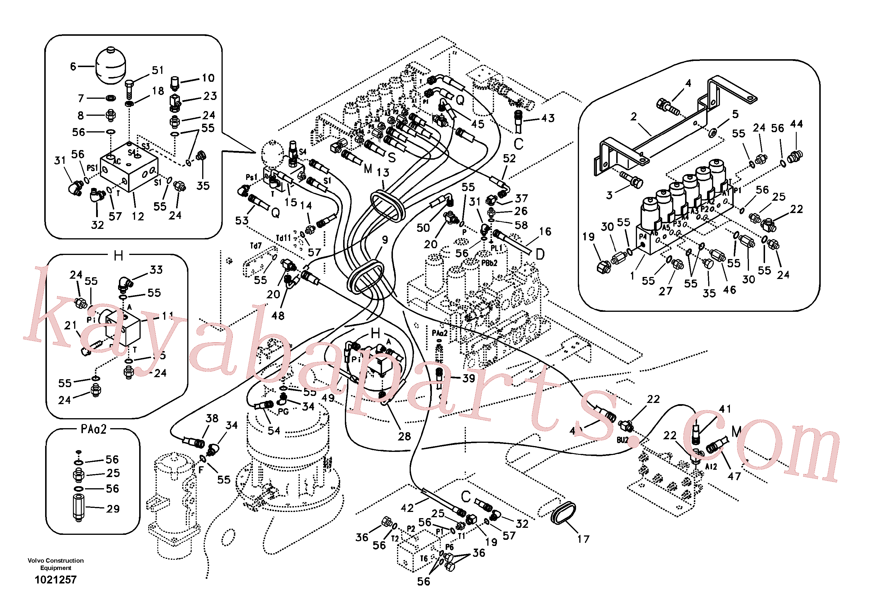 SA9451-02259 for Volvo Servo system, control valve to solenoid valve(1021257 assembly)