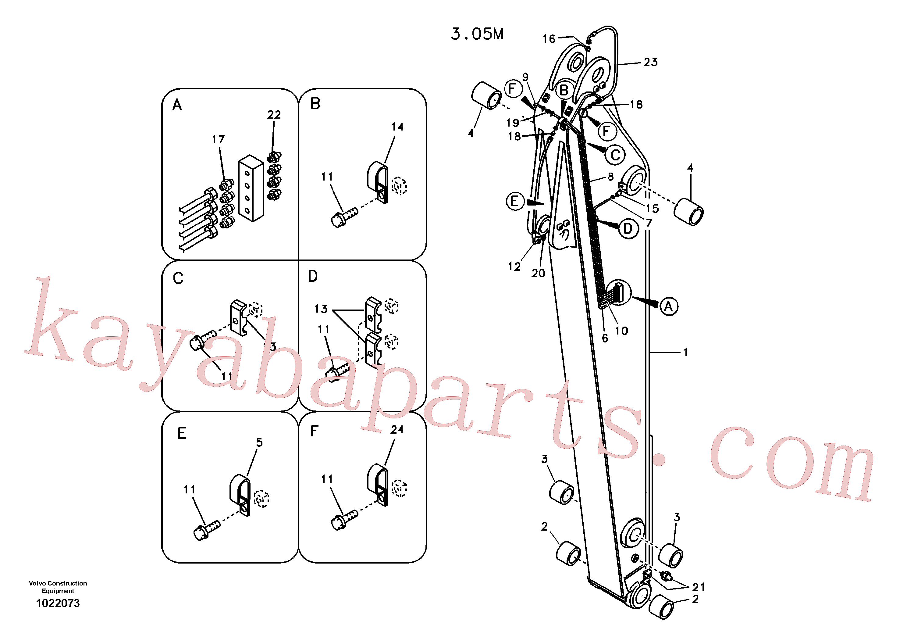 VOE14550166 for Volvo Dipper arm and grease piping with piping seat(1022073 assembly)