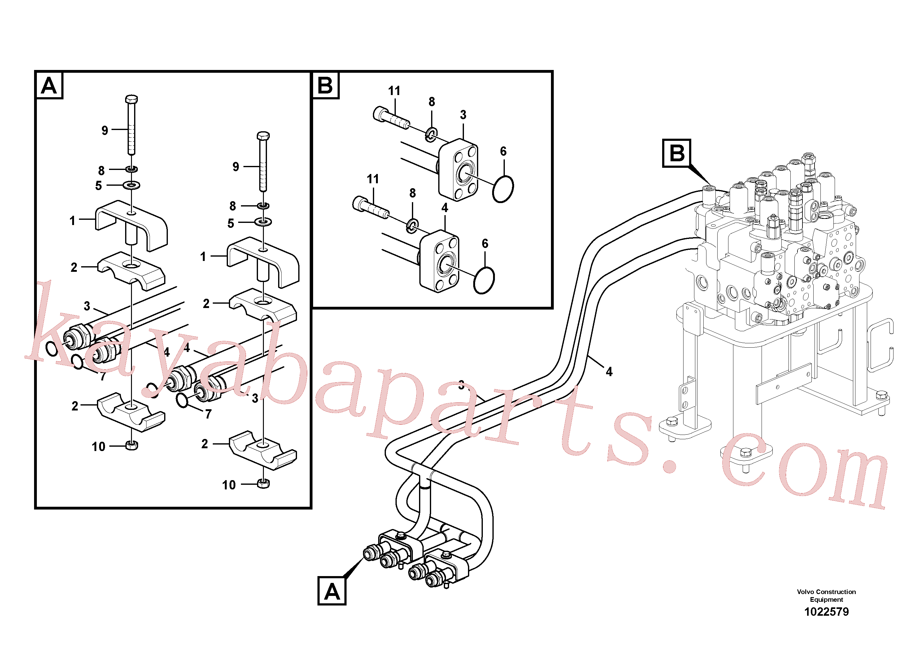VOE14539092 for Volvo Hydraulic system, control valve to boom and swing(1022579 assembly)