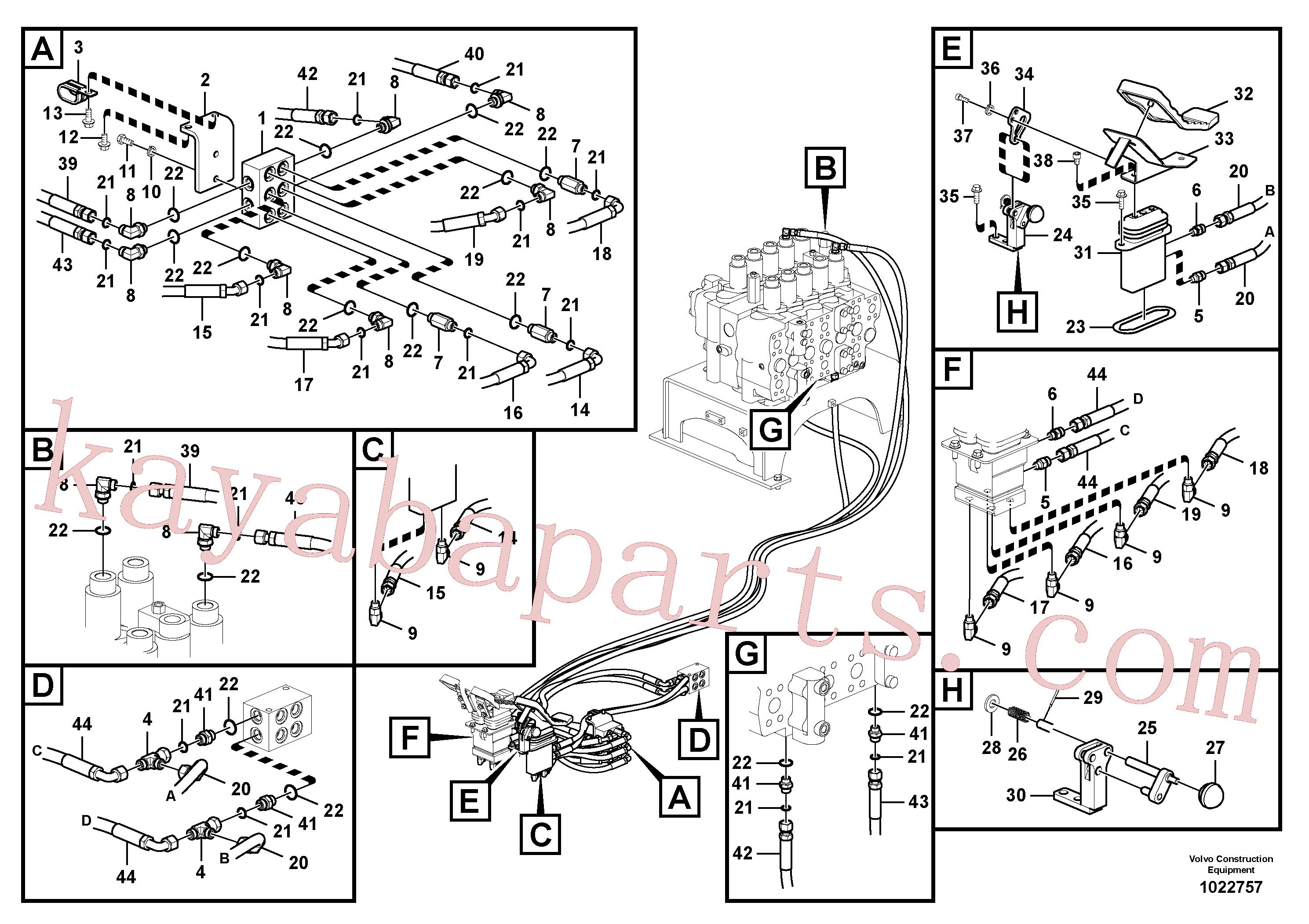 VOE15194420 for Volvo Servo system, control valve to remote control valve pedal(1022757 assembly)