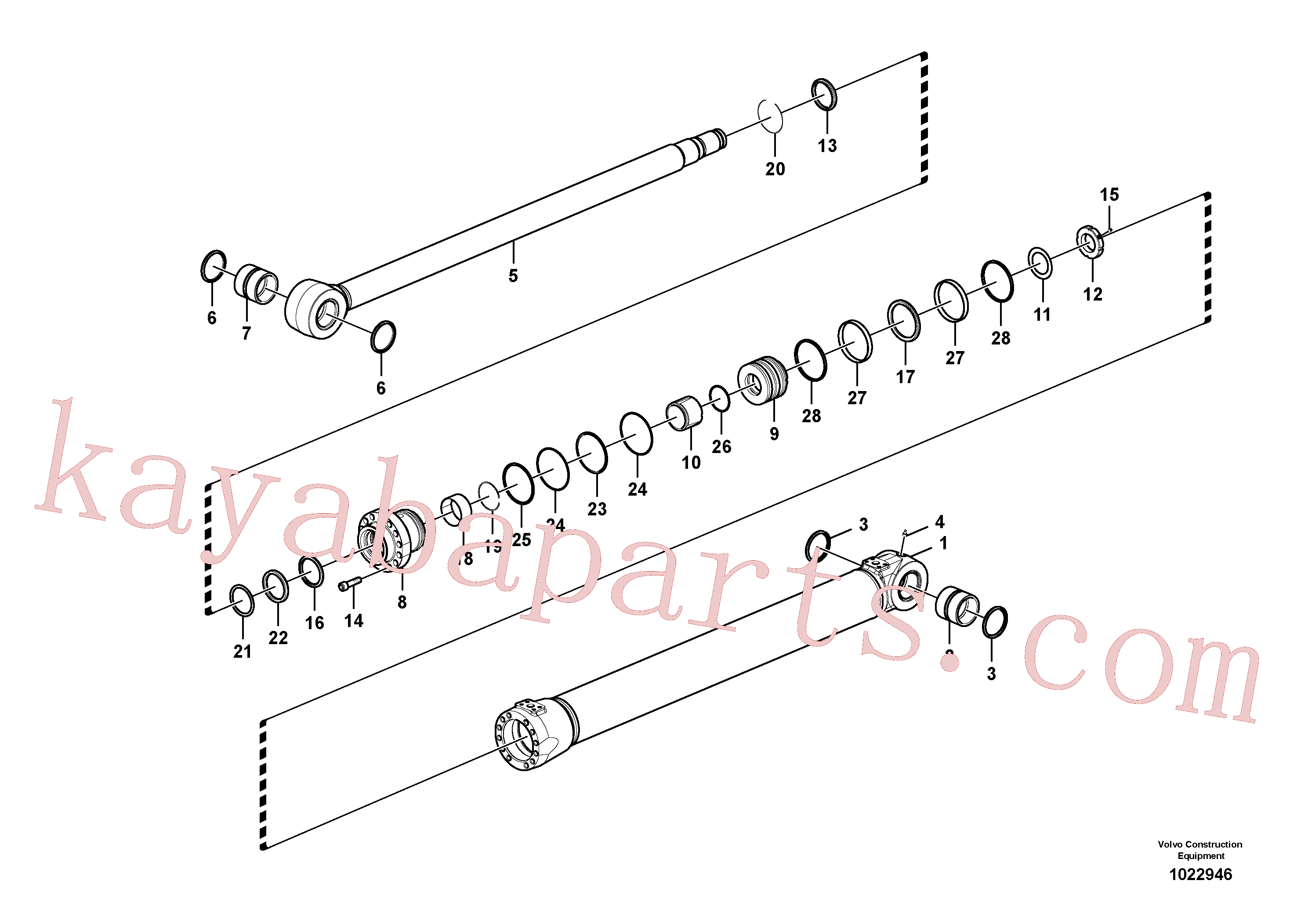 SA9557-08000 for Volvo Boom cylinder(1022946 assembly)