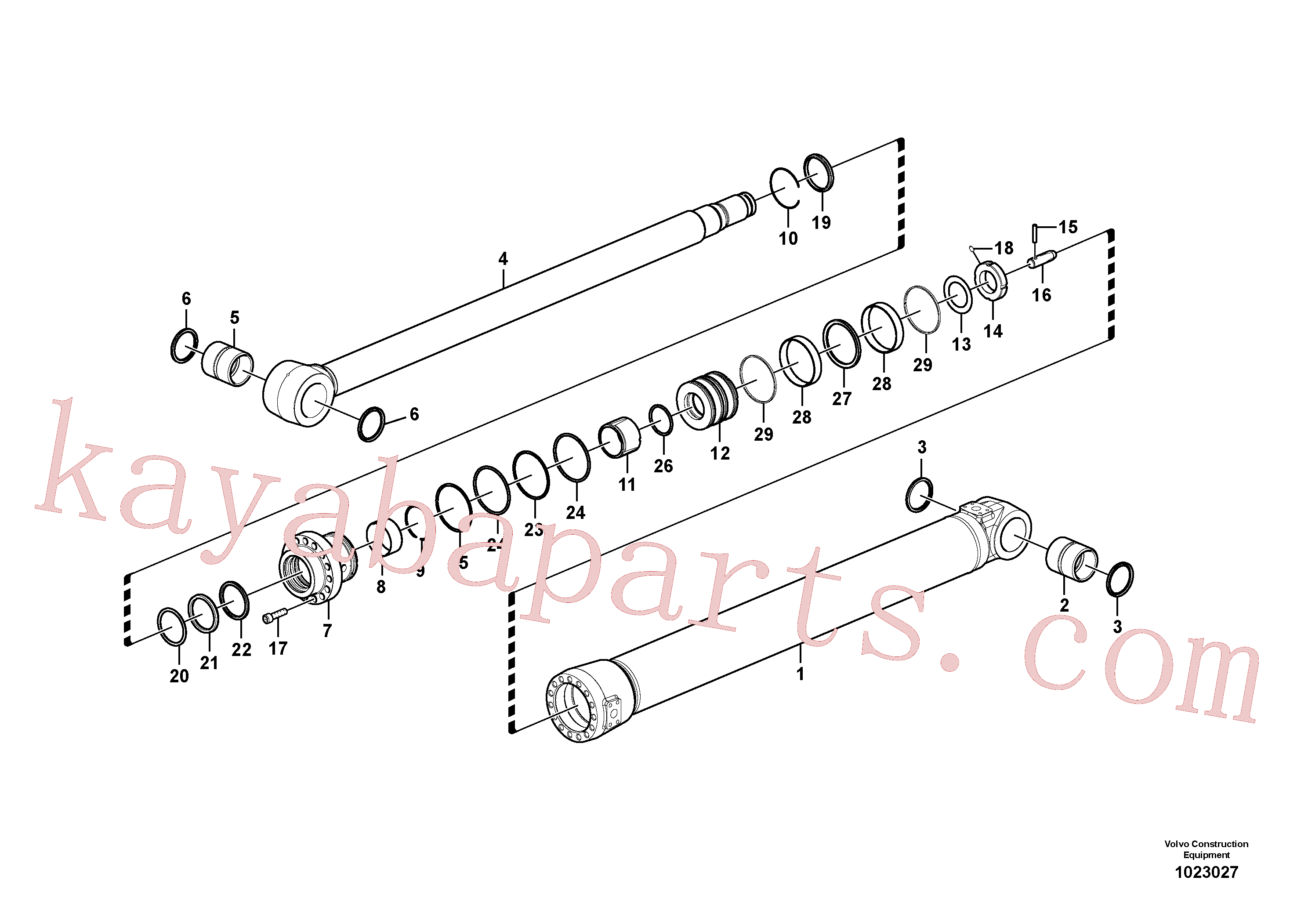 VOE990597 for Volvo Dipper arm cylinder(1023027 assembly)