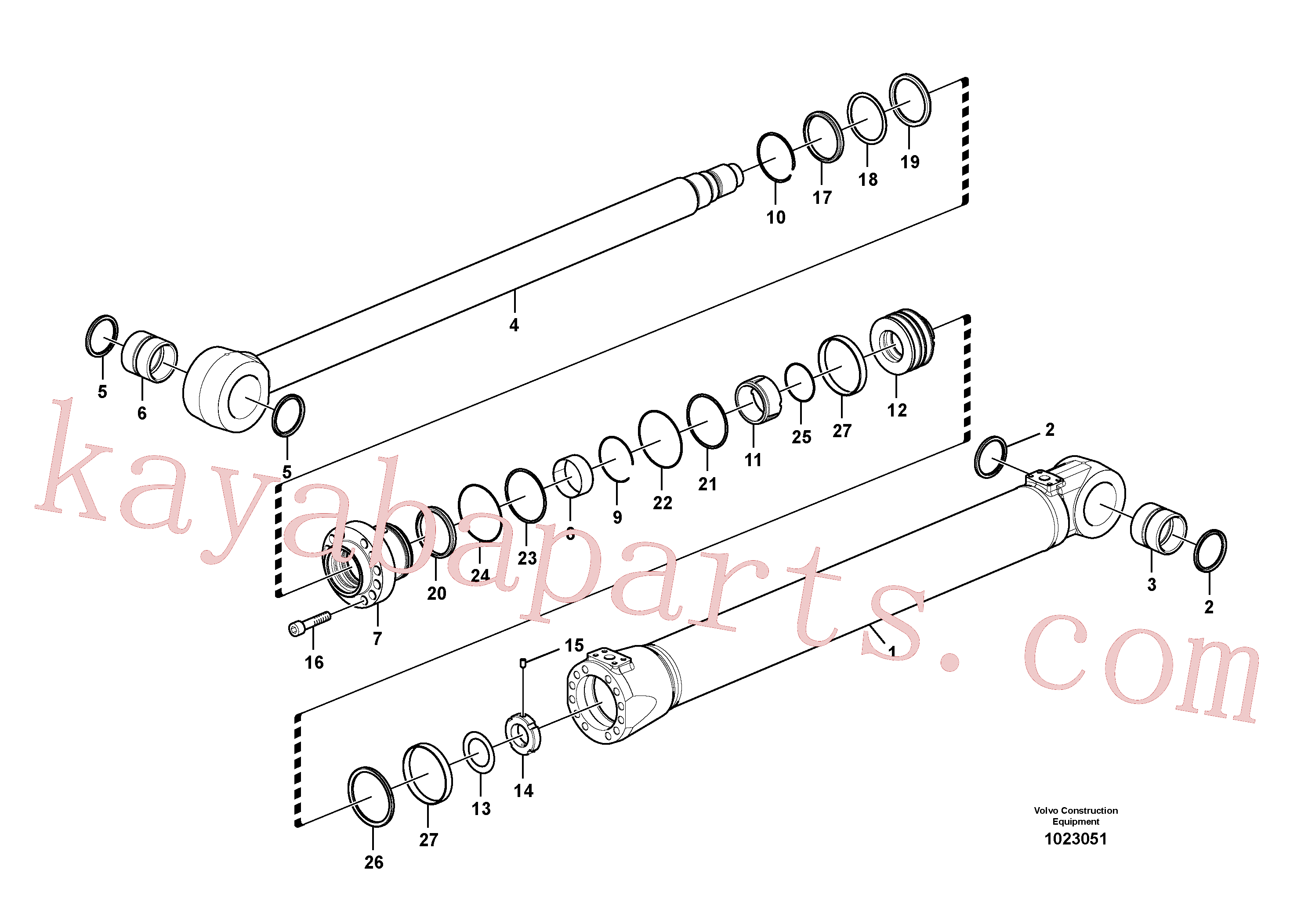 VOE14549124 for Volvo Boom cylinder(1023051 assembly)