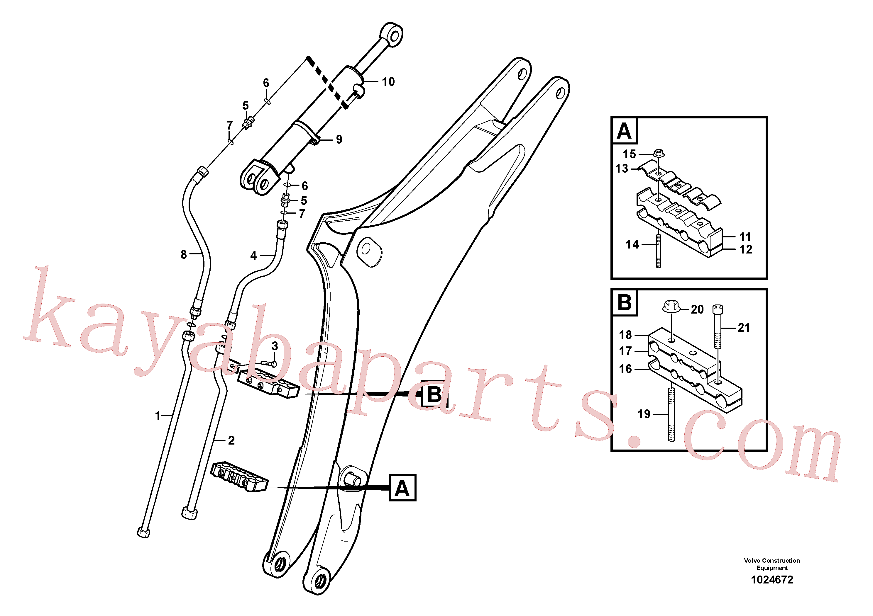 VOE11891062 for Volvo Hydraulic system dipper arm(1024672 assembly)