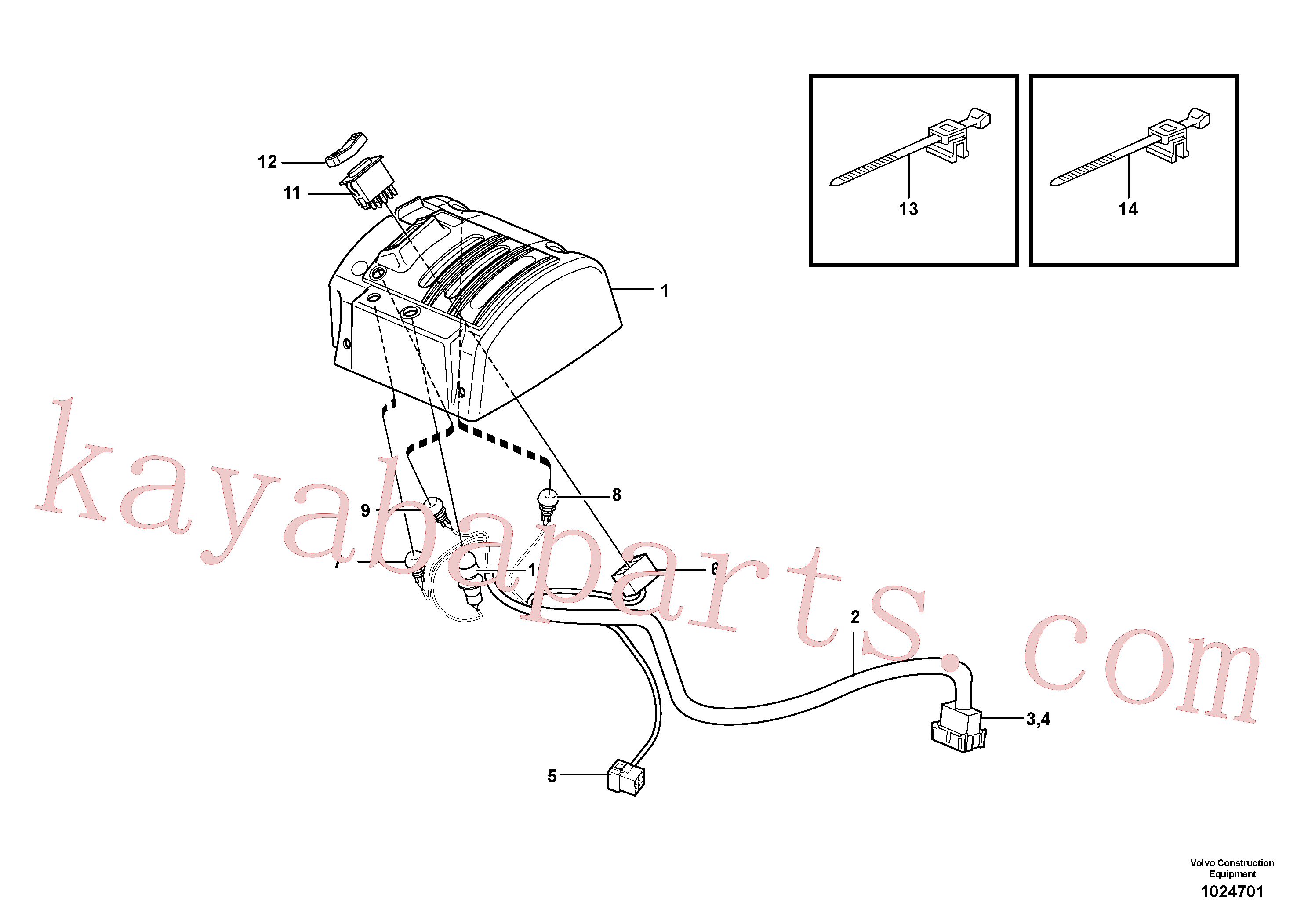VOE3987483 for Volvo Cable harnesses, servo valve.(1024701 assembly)