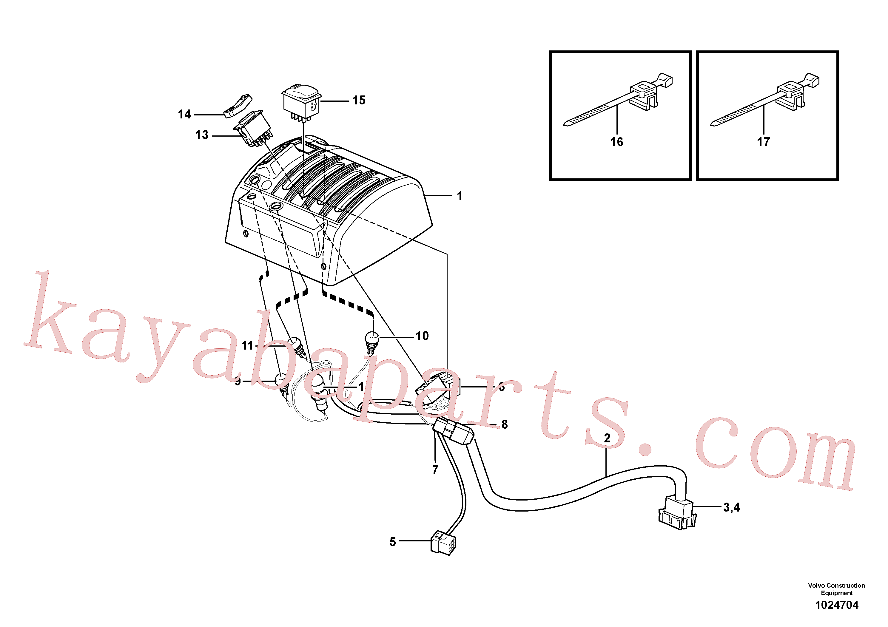 VOE3987483 for Volvo Cable harnesses, servo valve.(1024704 assembly)