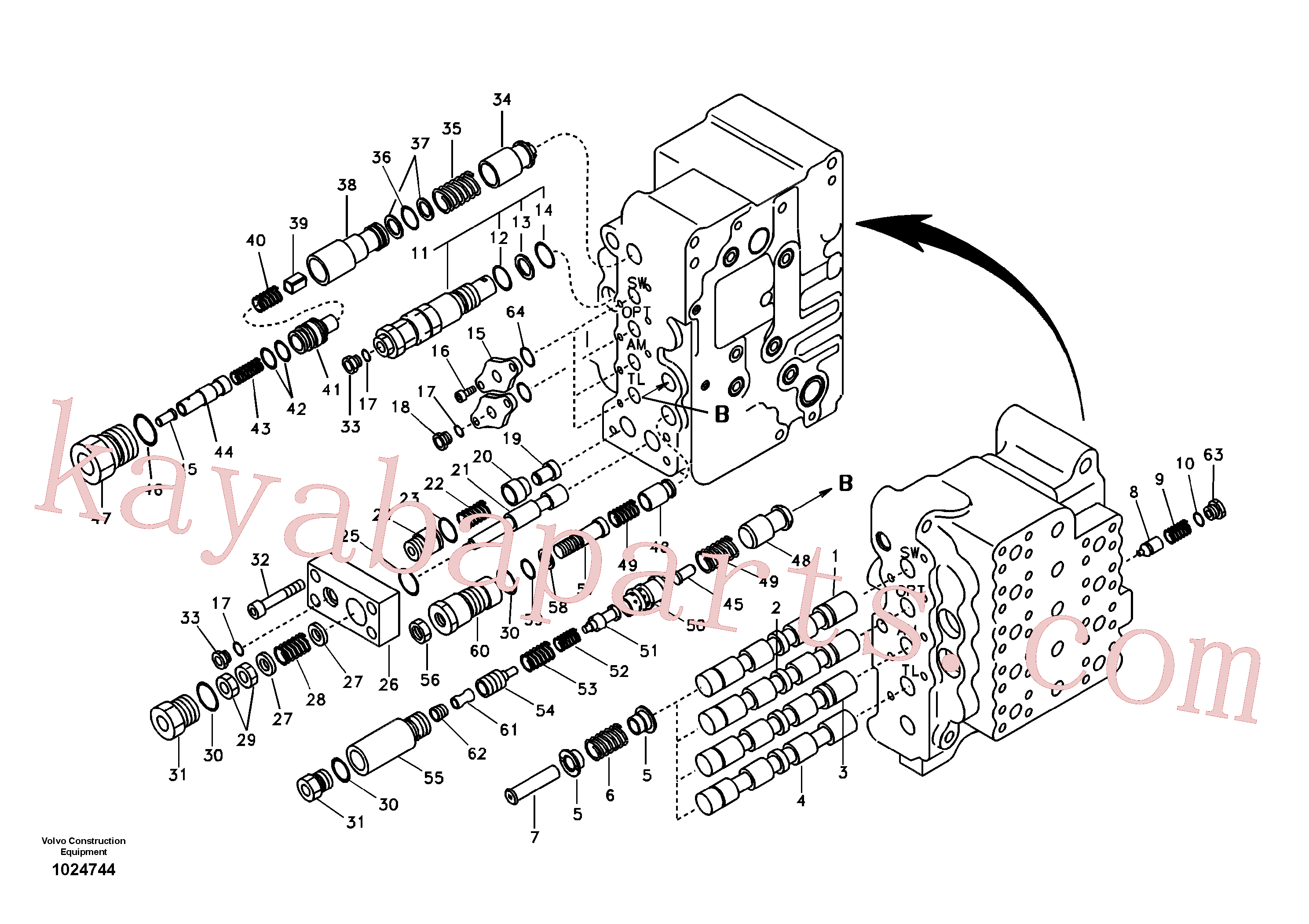SA8230-13320 for Volvo Main control valve, swing and option and dipper arm and travel Lh(1024744 assembly)