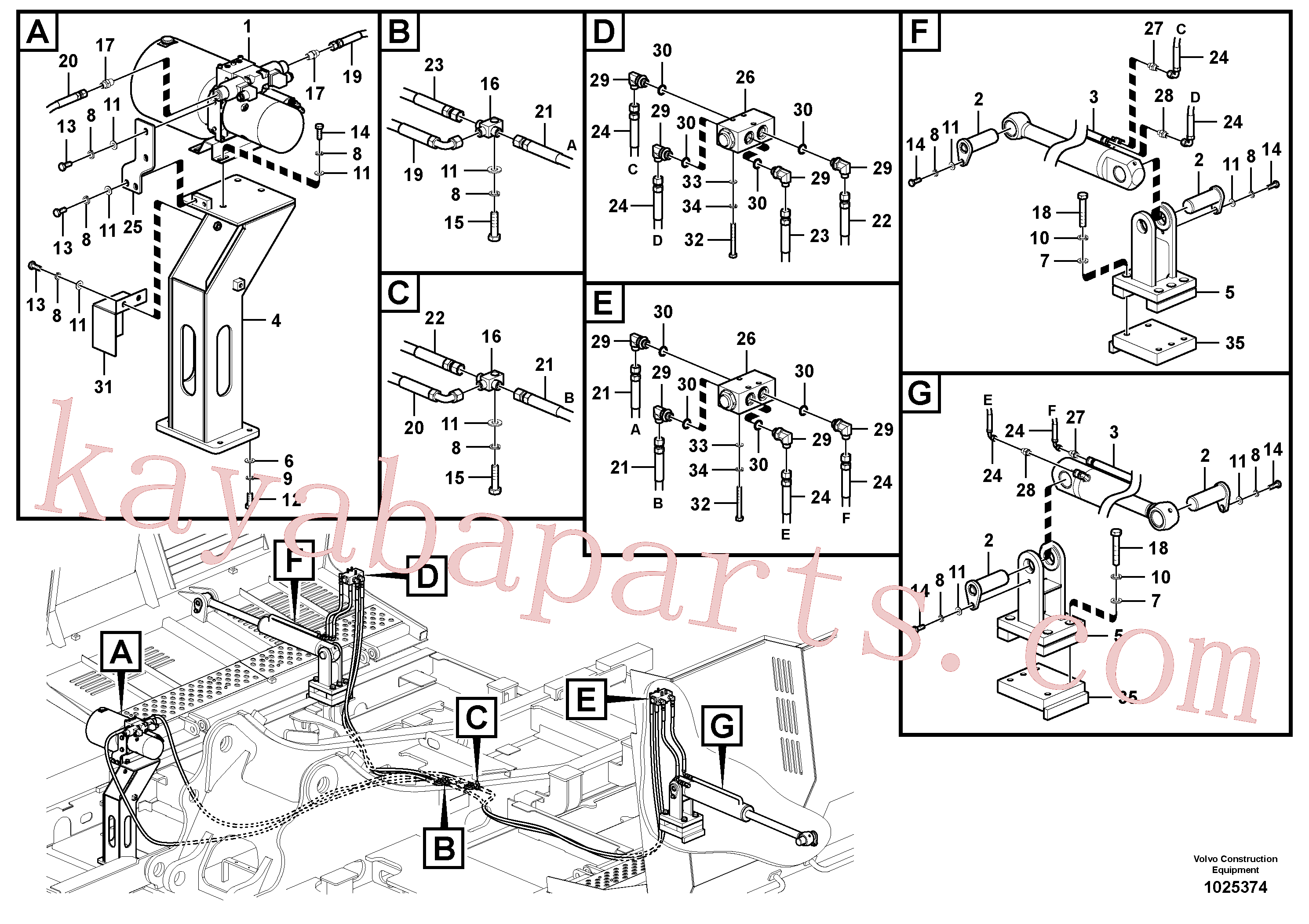 VOE14546616 for Volvo Working hydraulics, Gullwing tilting device(1025374 assembly)