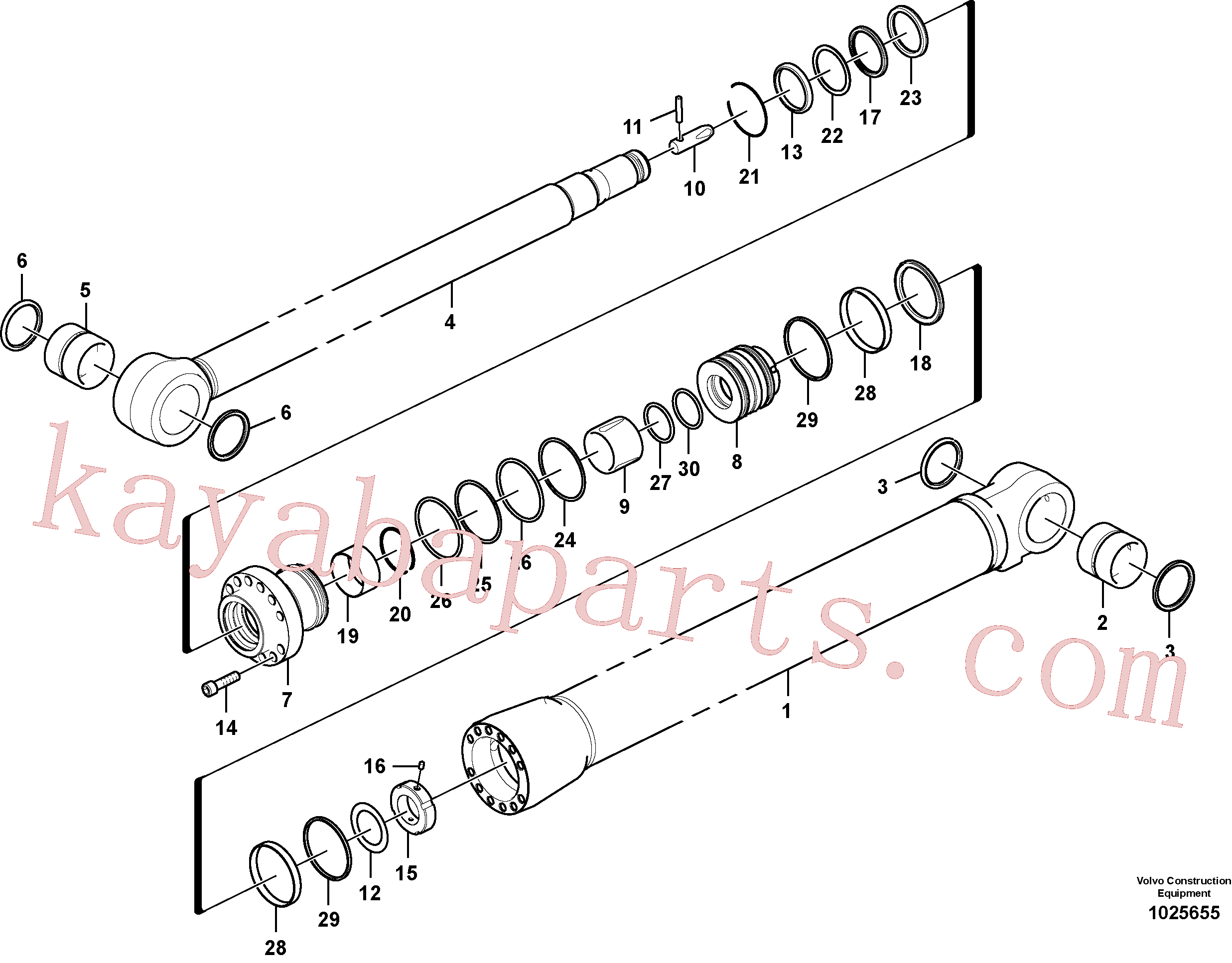 SA9566-31400 for Volvo Dipper arm cylinder(1025655 assembly)
