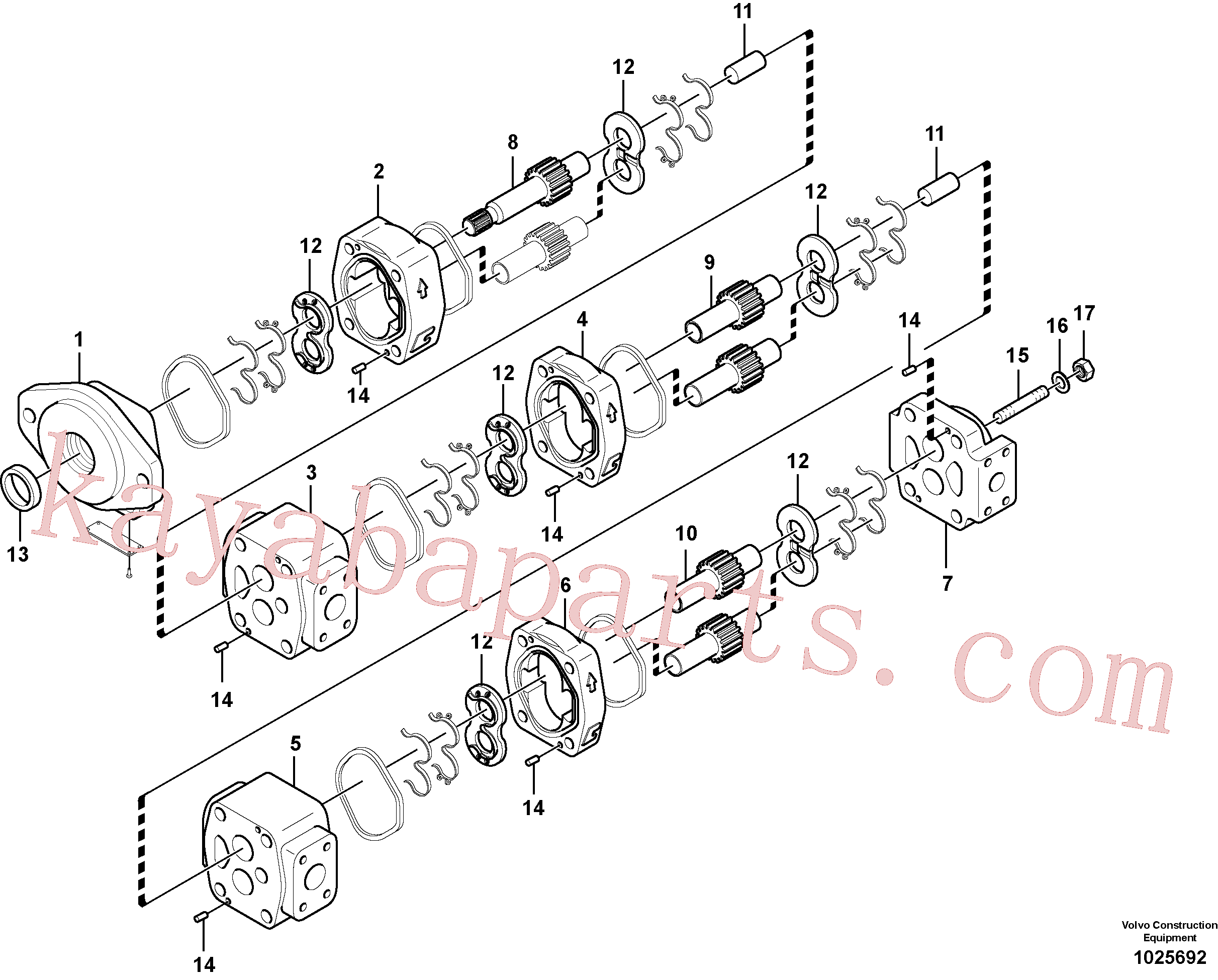 VOE14536189 for Volvo Hydraulic gear pump for quickfit and rotator(1025692 assembly)