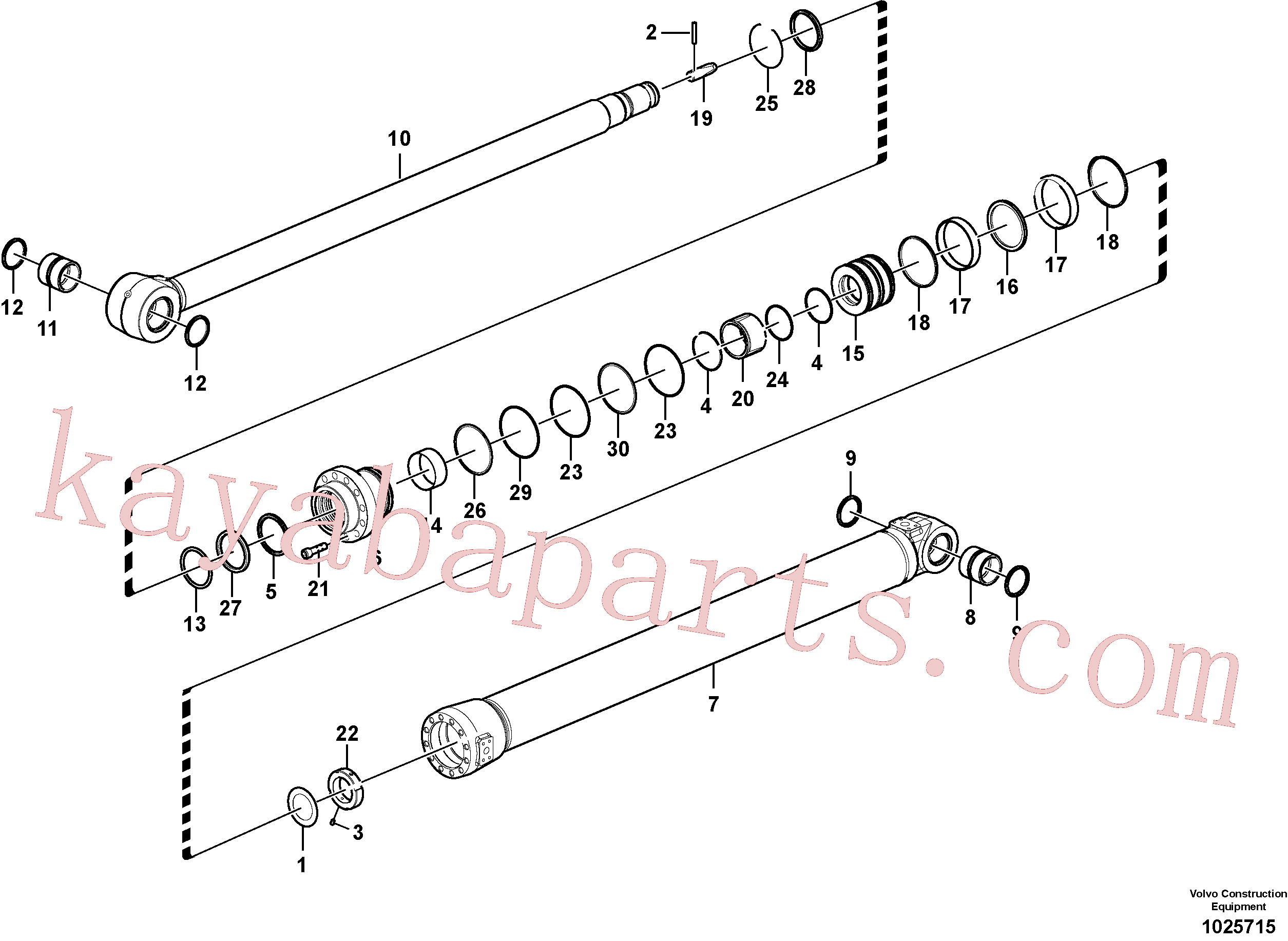 SA9566-31400 for Volvo Dipper arm cylinder(1025715 assembly)