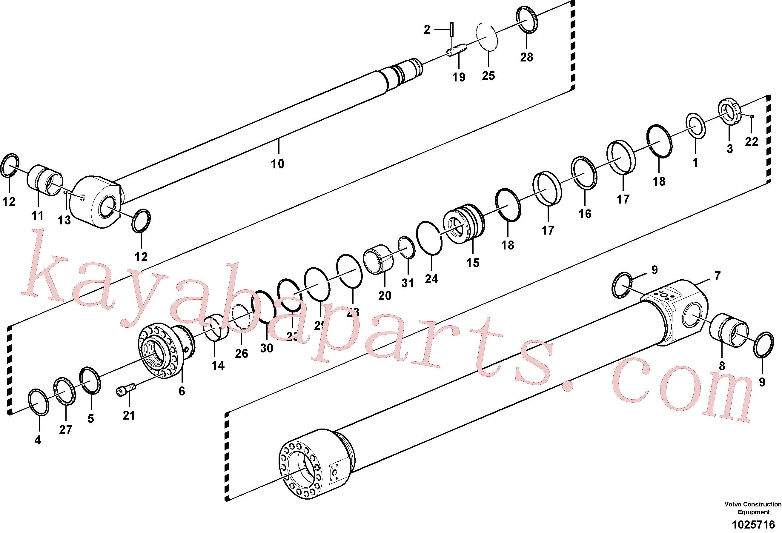 SA9612-10540 for Volvo Dipper arm cylinder(1025716 assembly)