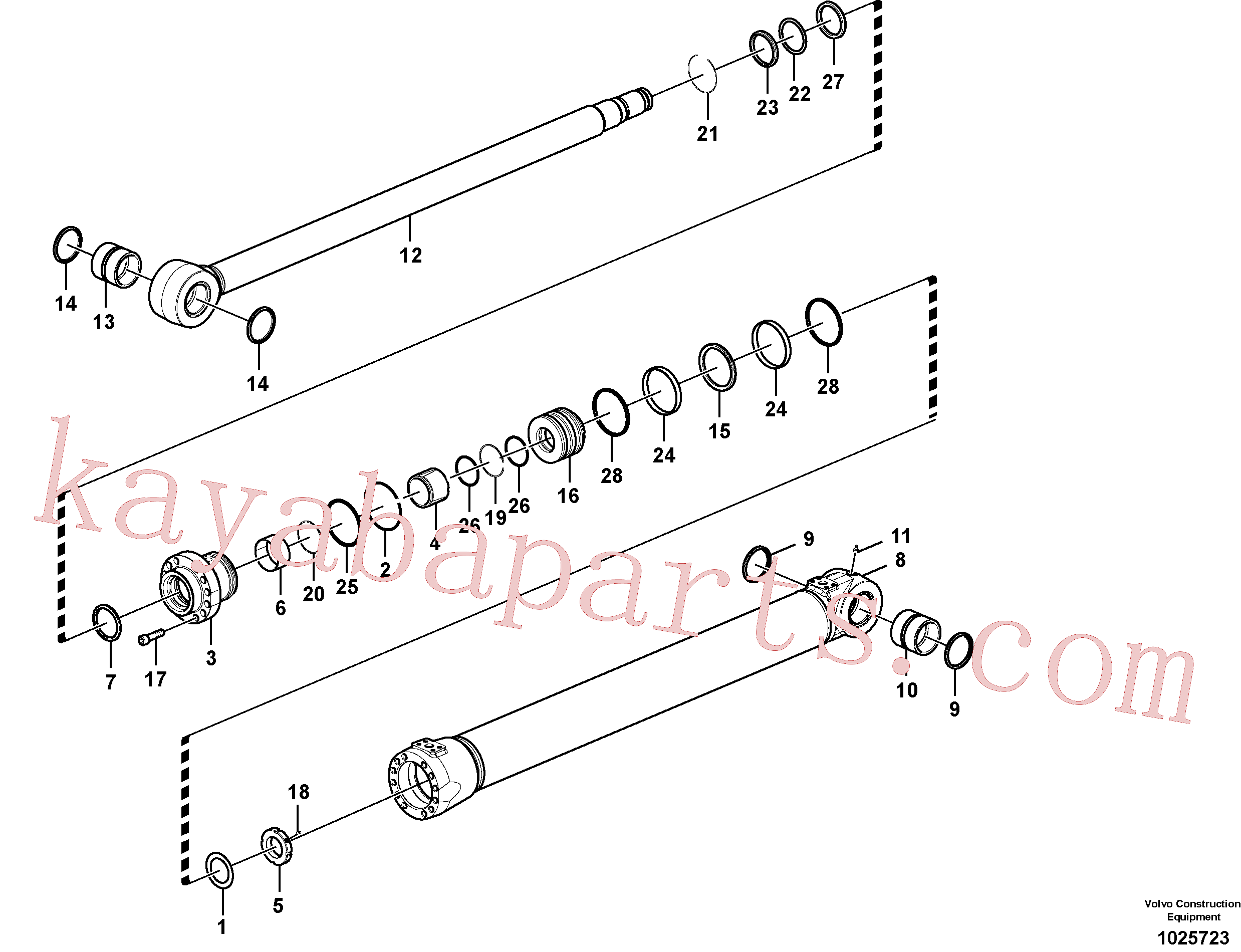 VOE14512072 for Volvo Boom cylinder(1025723 assembly)