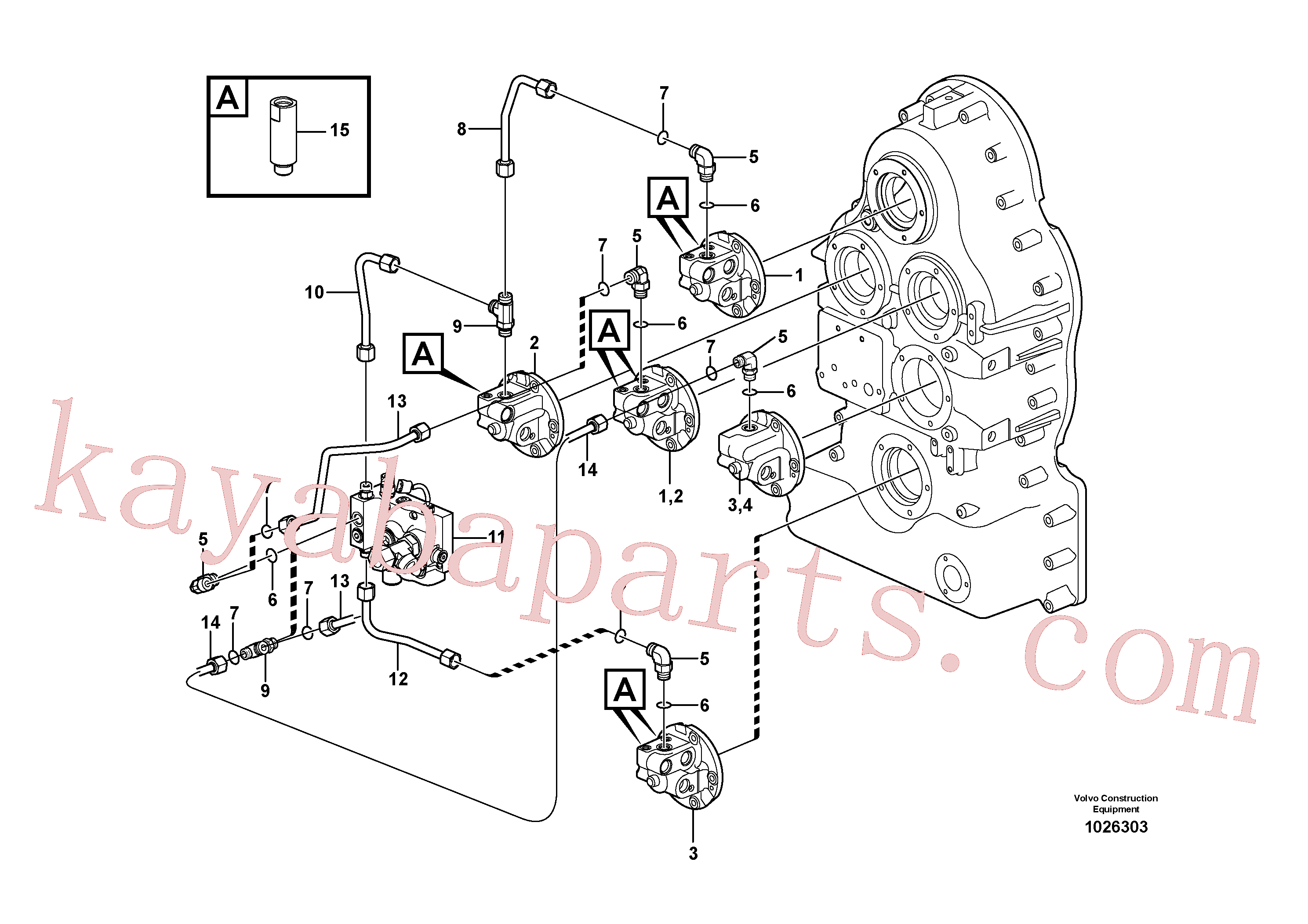 VOE13933868 for Volvo Oil distributor and tube.(1026303 assembly)