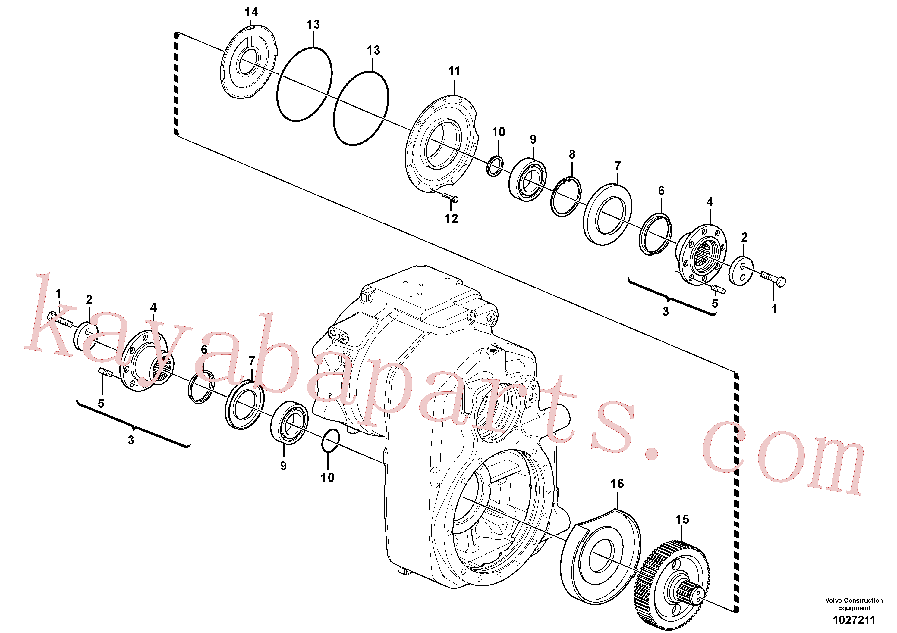 VOE13970950 for Volvo Transfer case, gears and shafts(1027211 assembly)