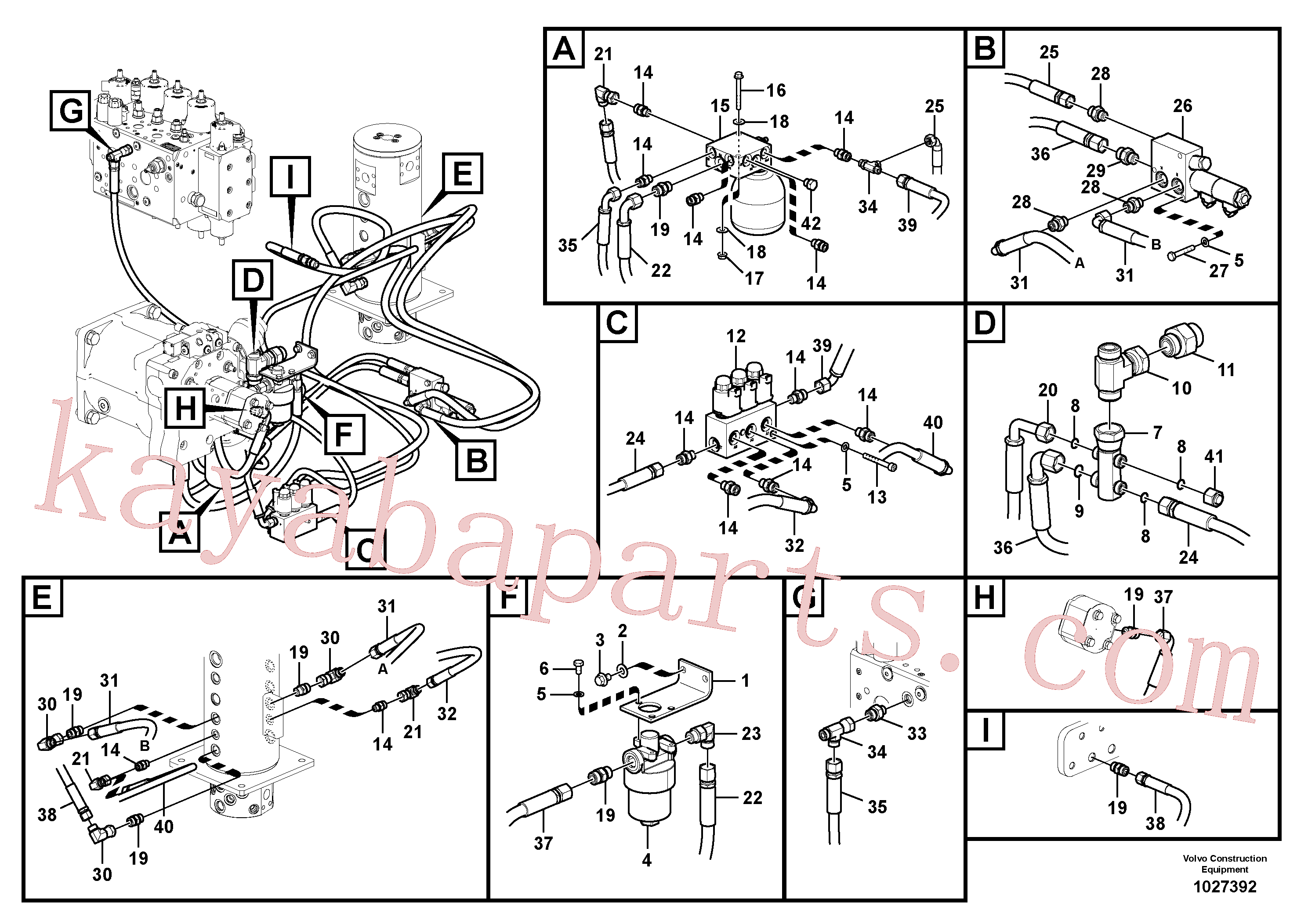 VOE11883022 for Volvo Servo system, control valve piping.(1027392 assembly)