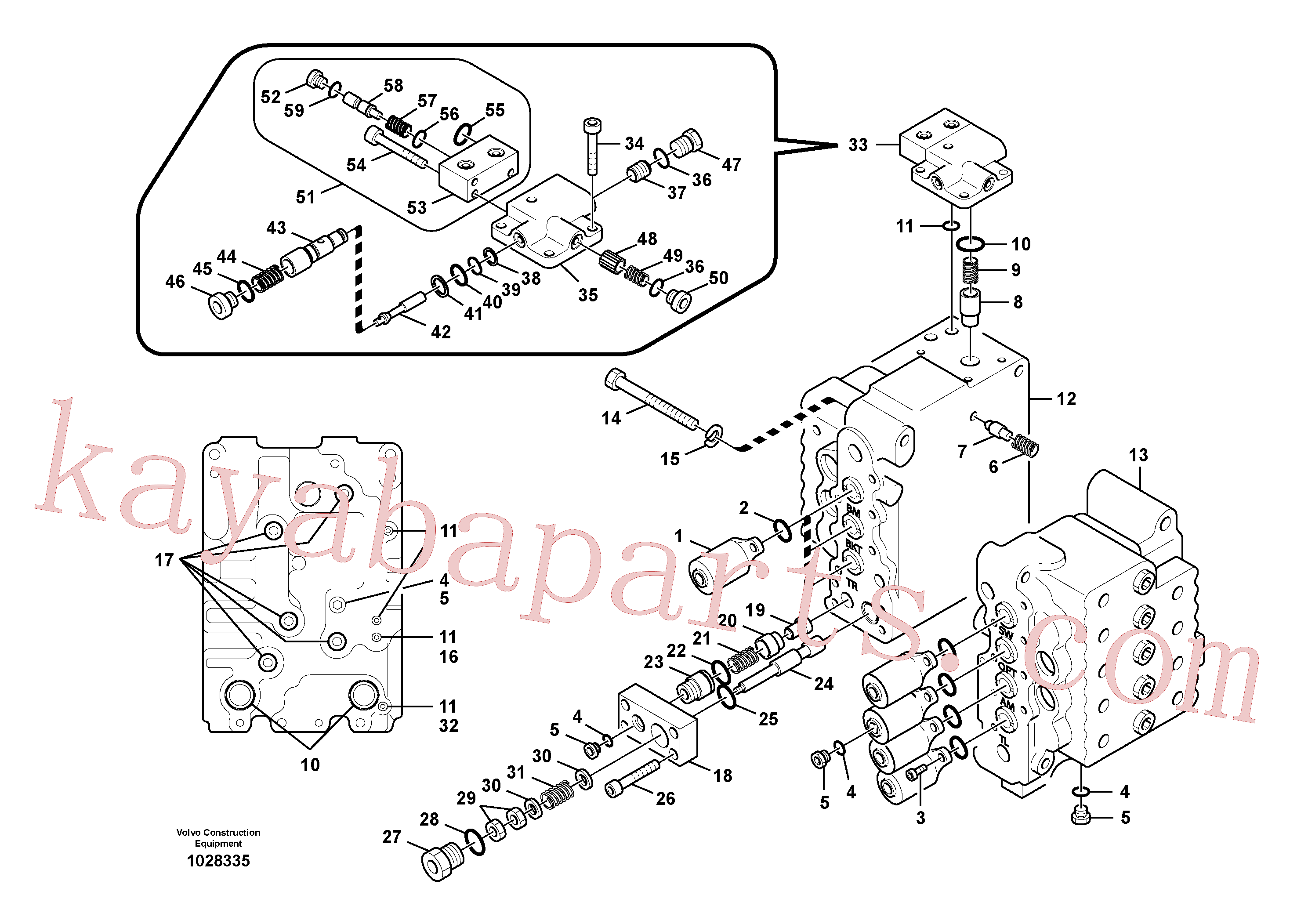 SA8230-13320 for Volvo Main control valve, relief valve and boom holding(1028335 assembly)