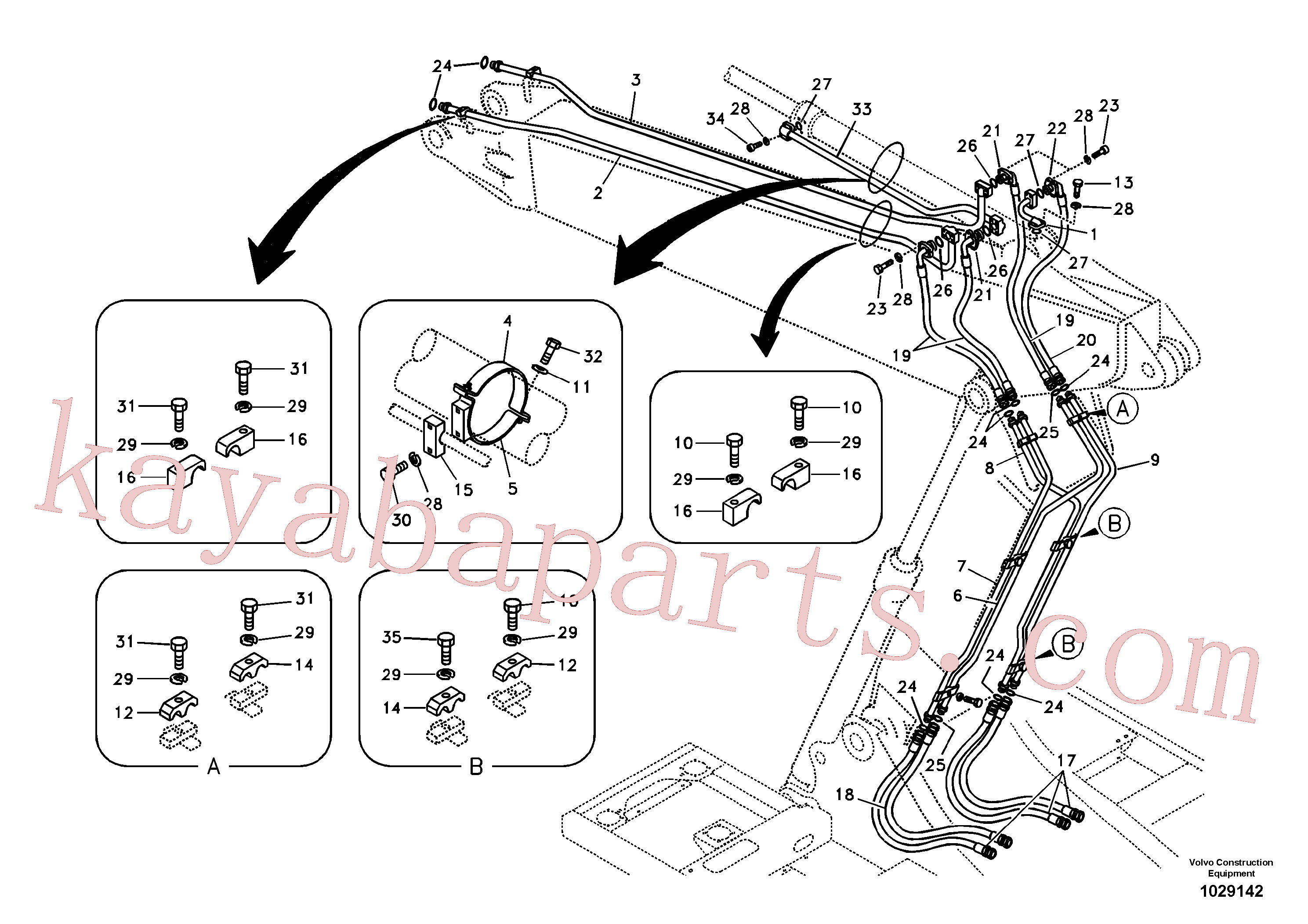 SA9401-05629 for Volvo Working hydraulic, dipper arm cylinder on adjustable boom(1029142 assembly)