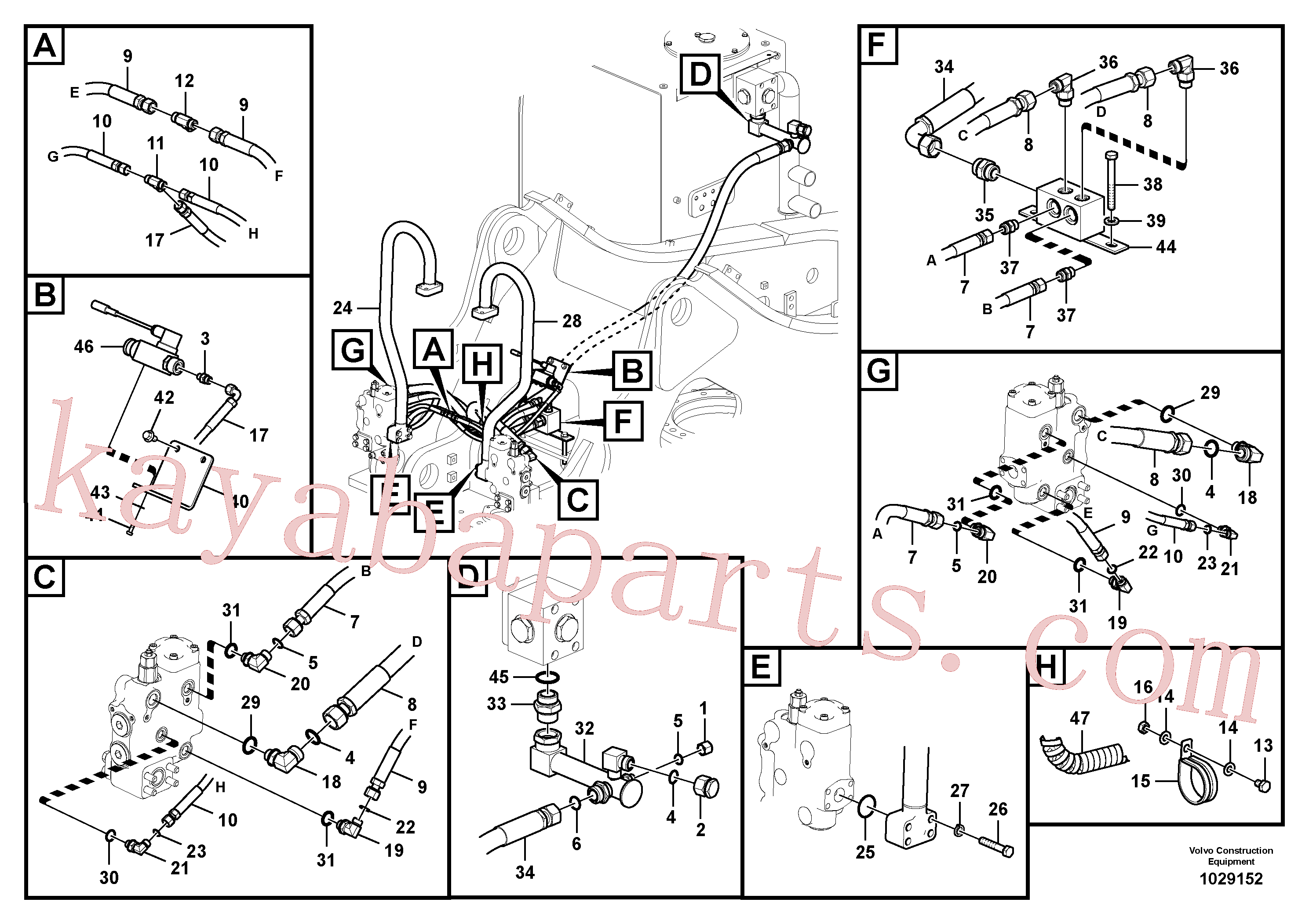VOE937630 for Volvo Working hydraulic, boom rupture(1029152 assembly)