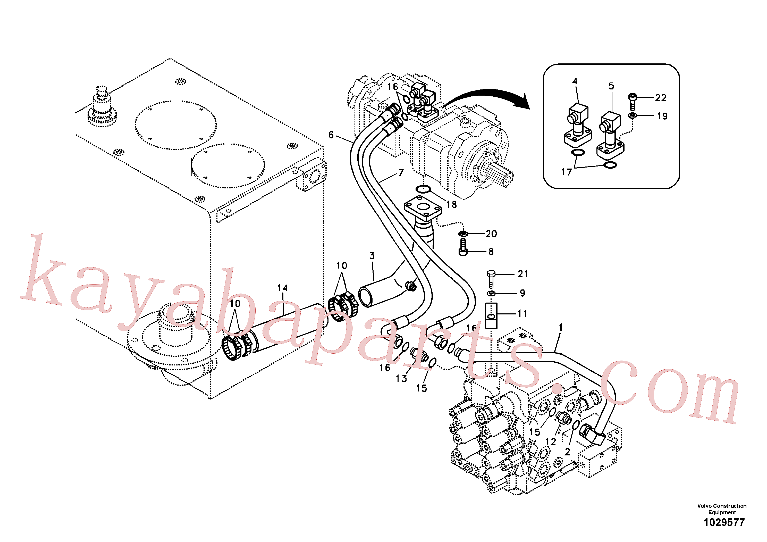 VOE14880321 for Volvo Hydraulic system, hydraulic tank to hydraulic pump(1029577 assembly)