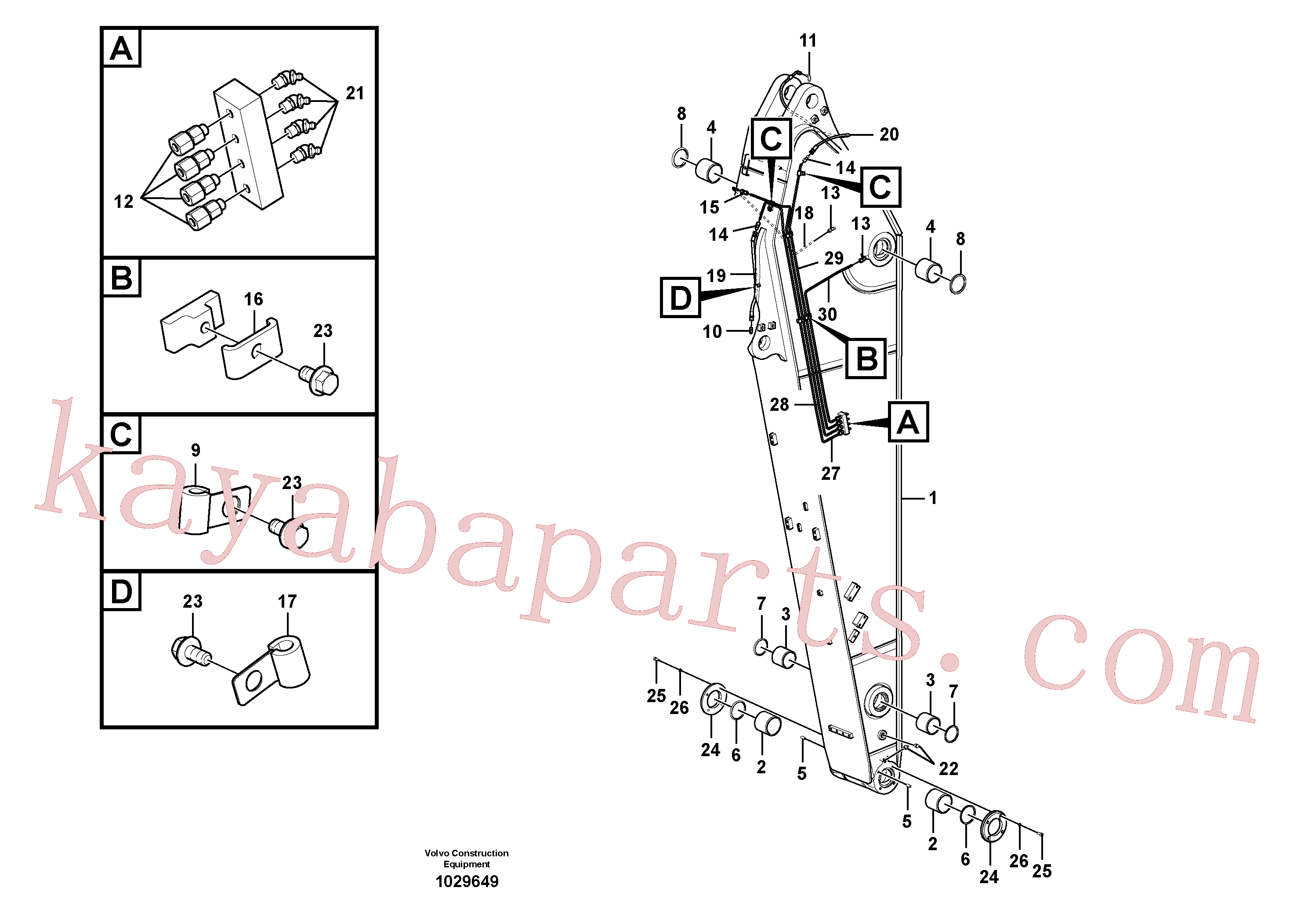 VOE14550166 for Volvo Dipper arm and grease piping with piping seat(1029649 assembly)