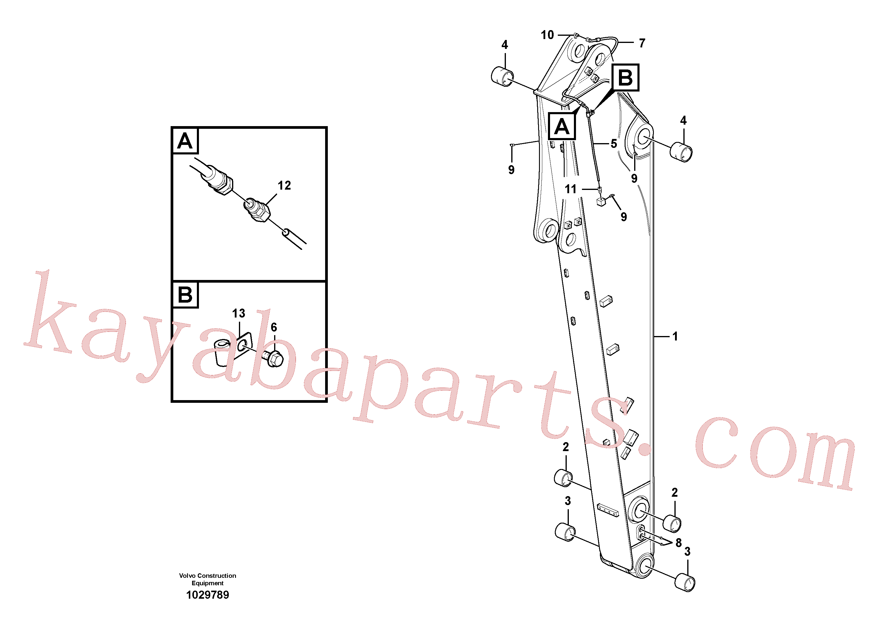 VOE14880870 for Volvo Dipper arm and grease piping with piping seat, long reach(1029789 assembly)