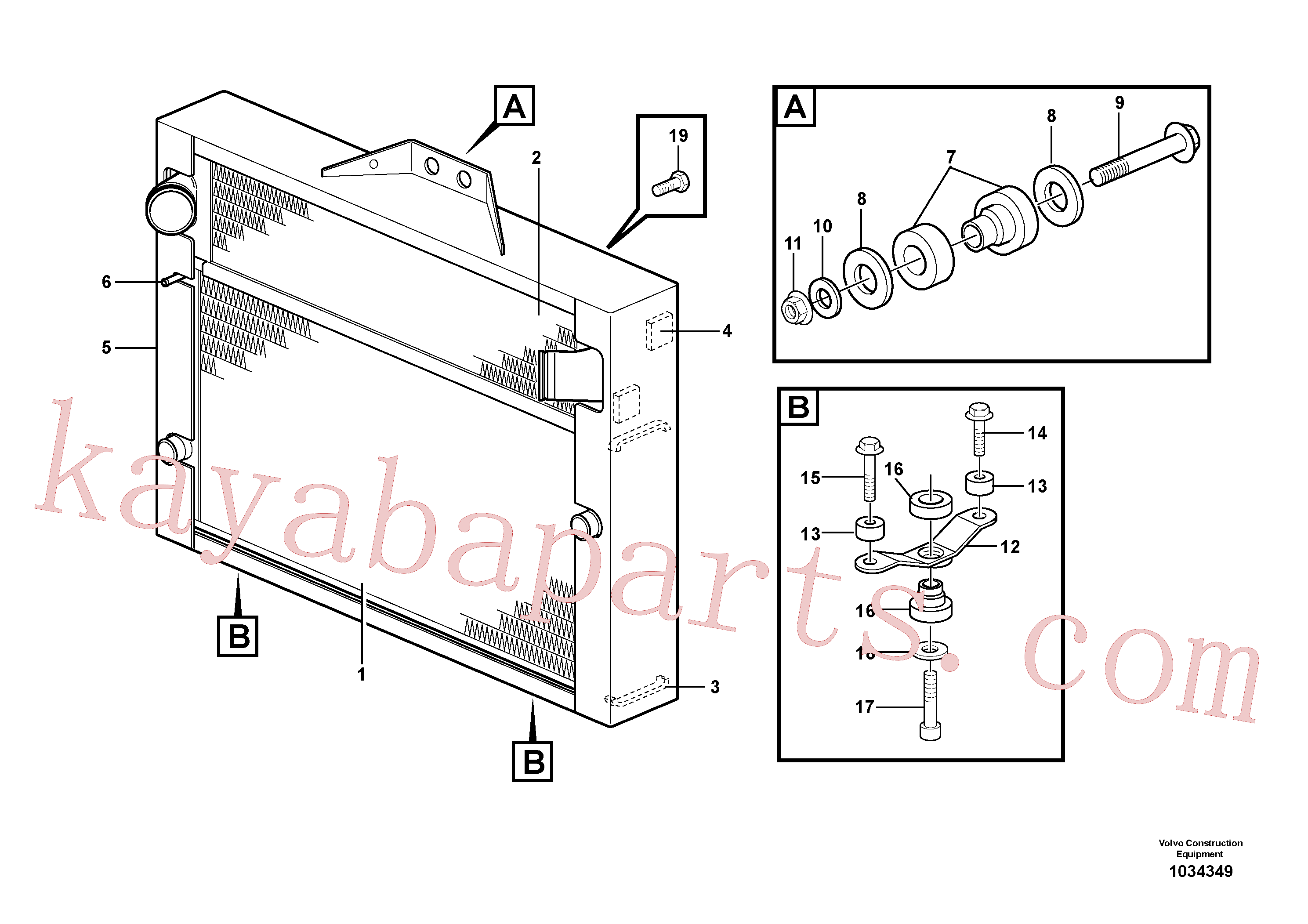 VOE14572499 for Volvo Radiator with fitting parts, Radiator with fitting parts.(1034349 assembly)