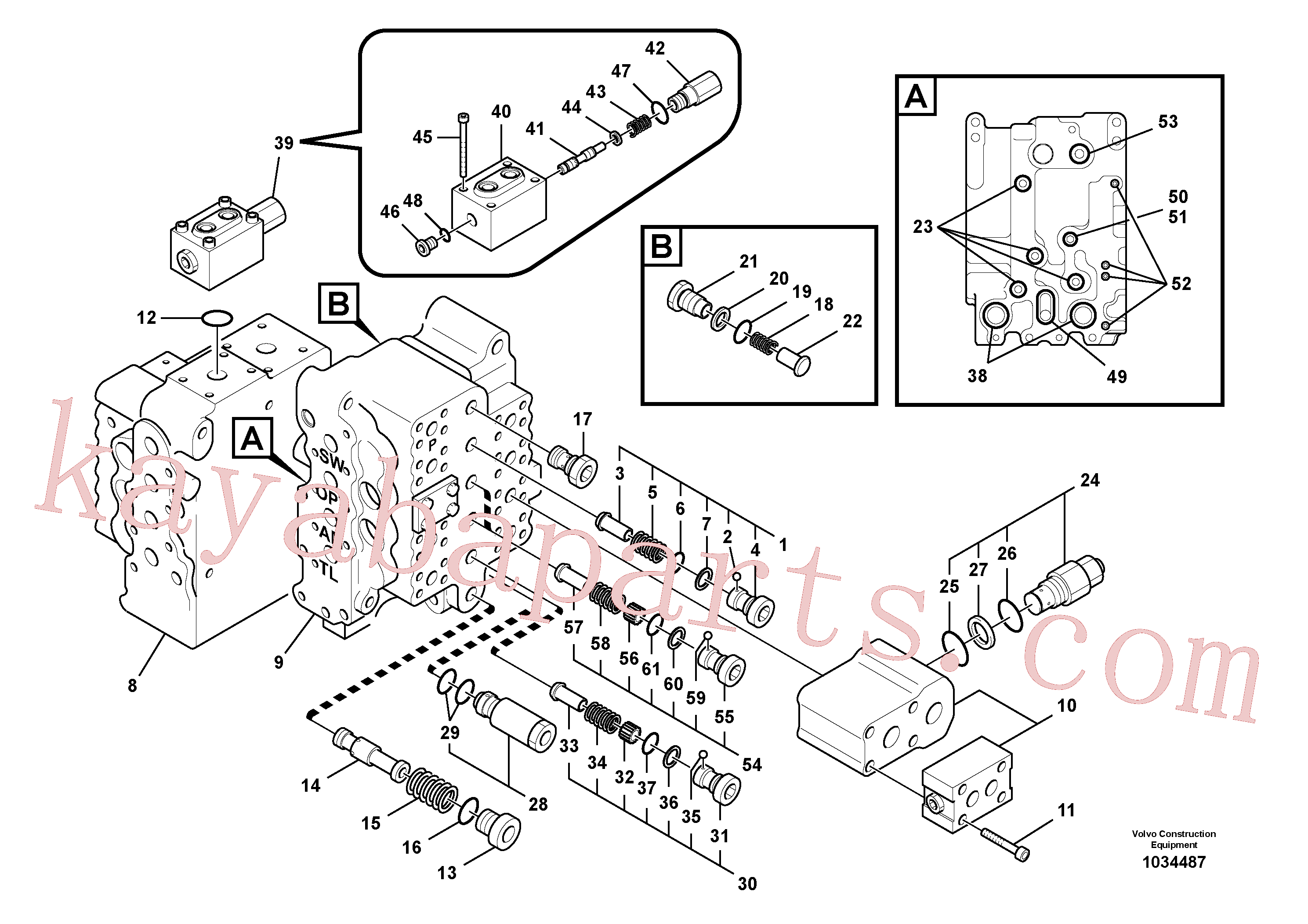 VOE14532821 for Volvo Main control valve, relief valve and dipper arm holding, Main control valve, swing and option and dipper arm and travel Lh(1034487 assembly)