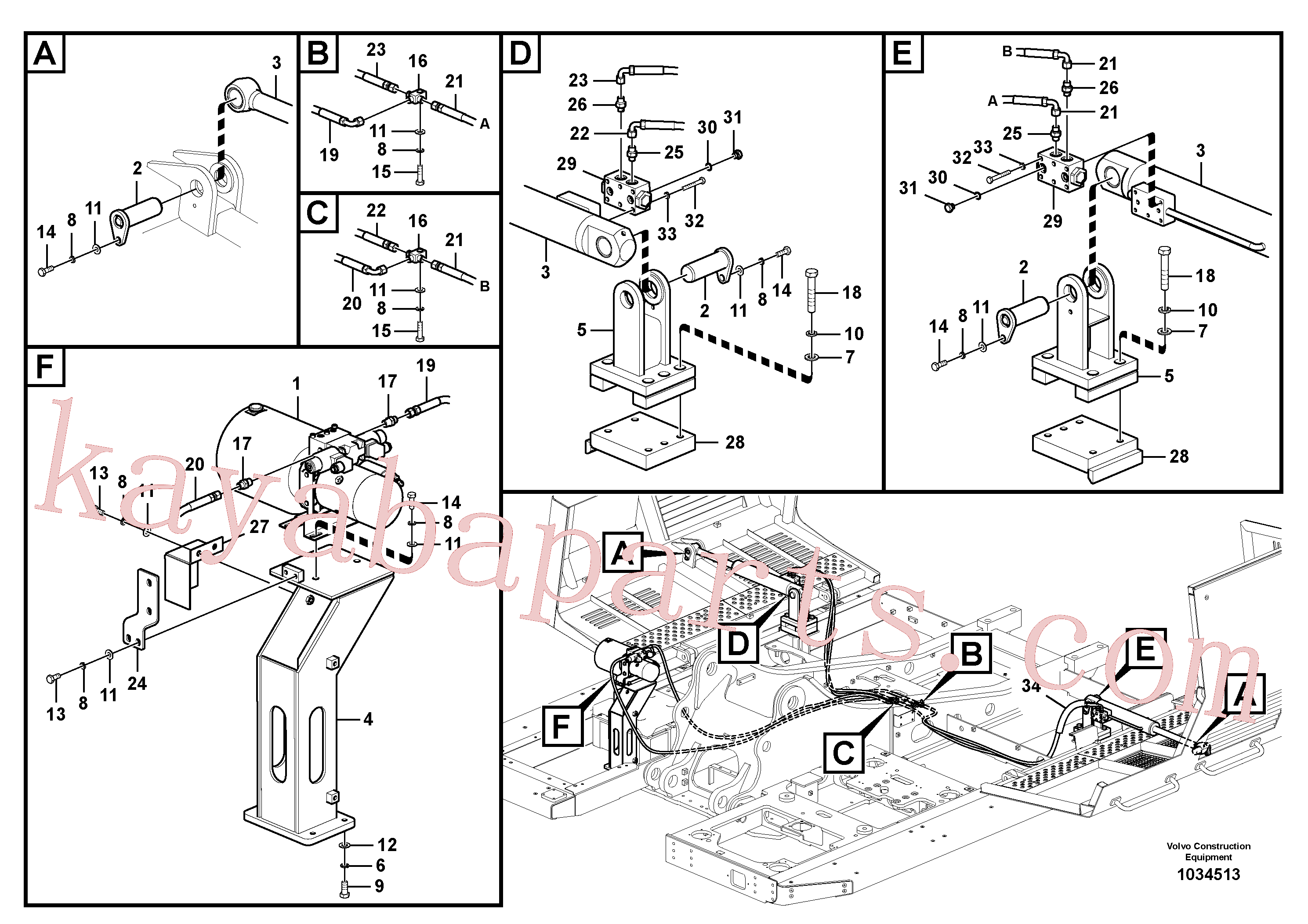 VOE14546616 for Volvo Working hydraulics, Gullwing tilting device(1034513 assembly)
