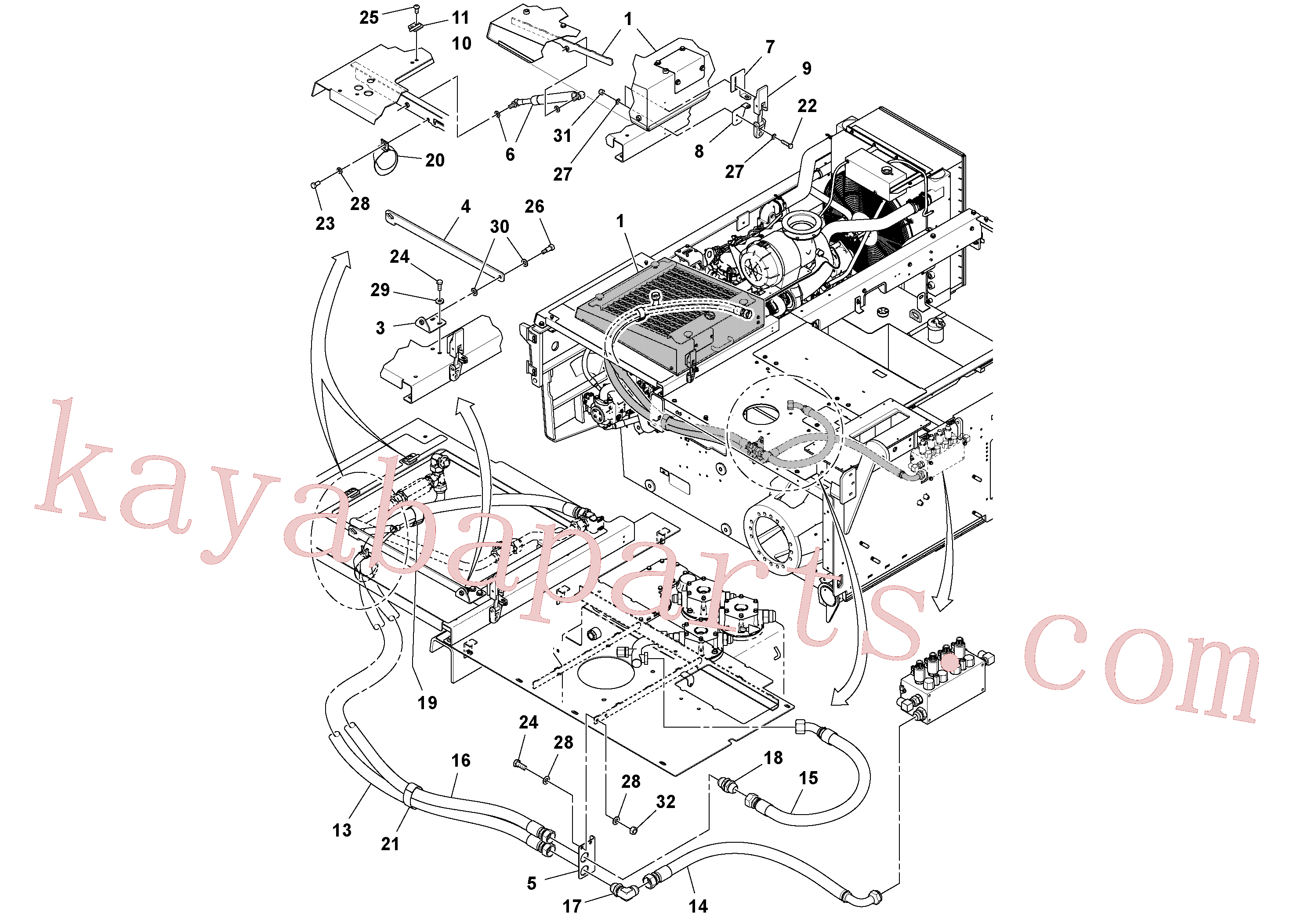 RM96704580 for Volvo Auxiliary Hydraulic Cooler Installation(1038646 assembly)